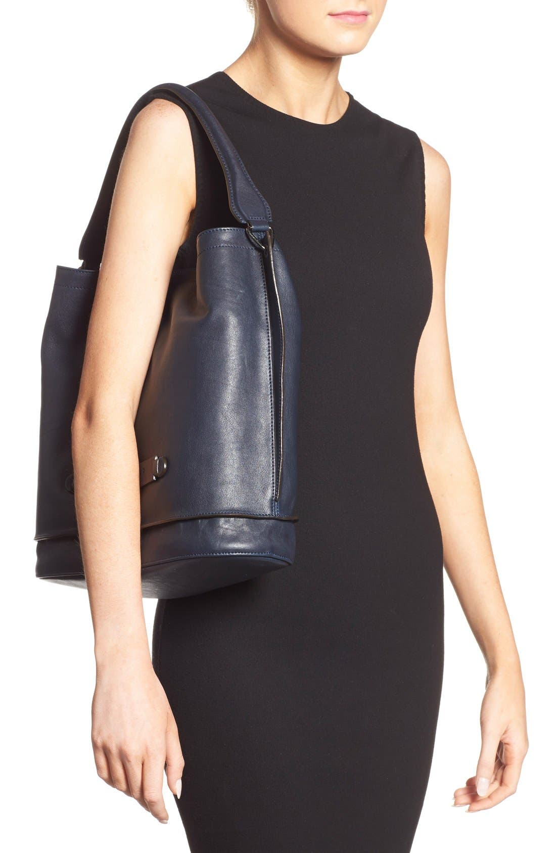 '3D' Leather Hobo,                             Alternate thumbnail 2, color,                             Midnight