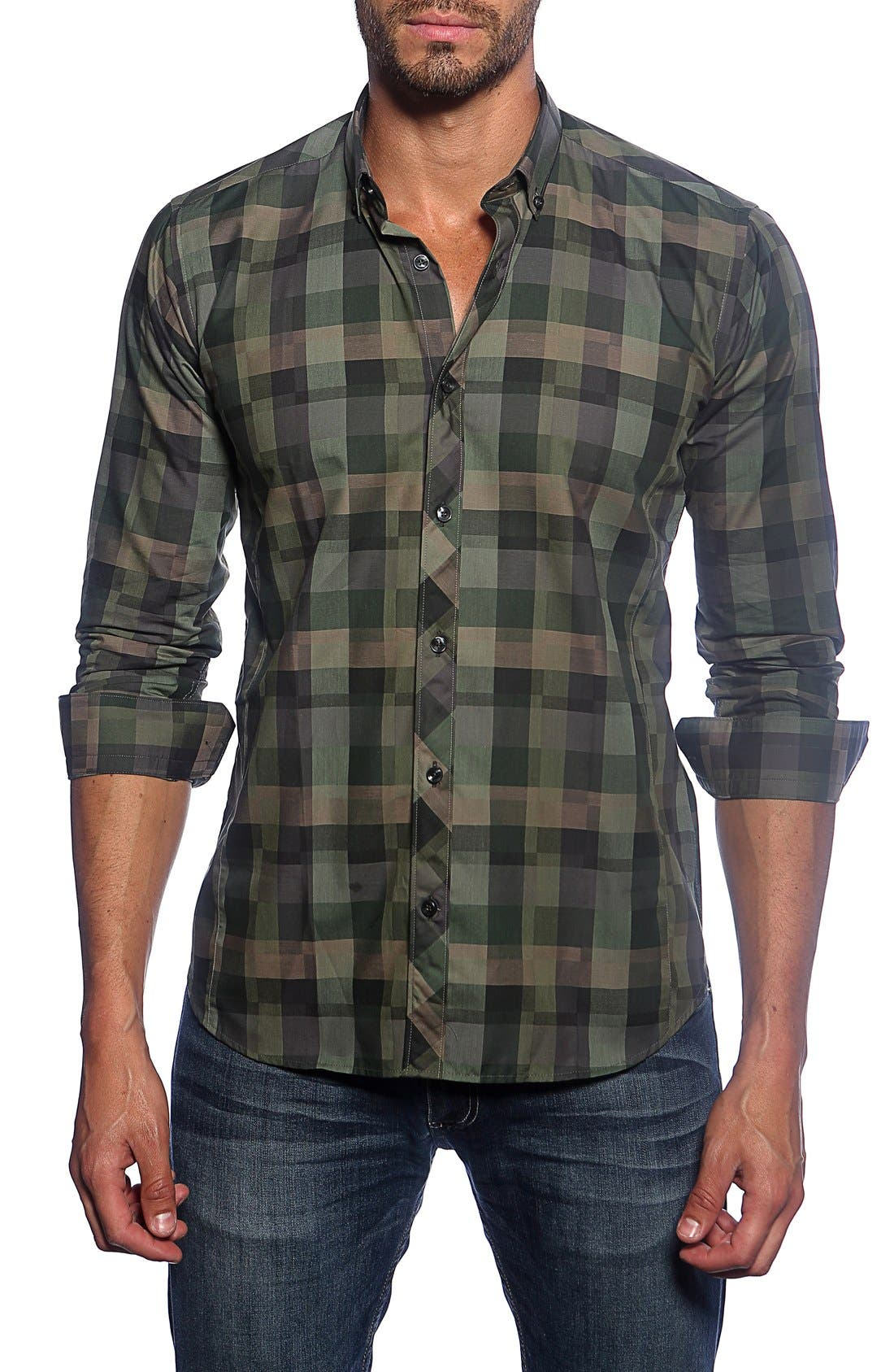 Trim Fit Check Sport Shirt,                             Main thumbnail 1, color,                             Green Camo