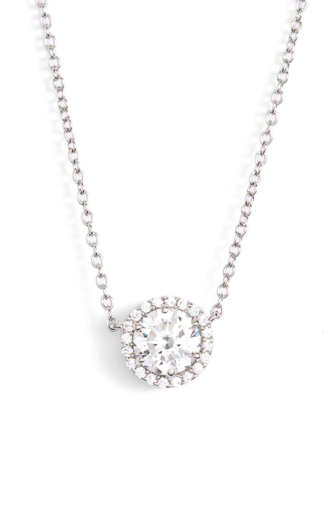 'Lassaire' HaloPendant Necklace,                         Main,                         color, Silver/ Clear
