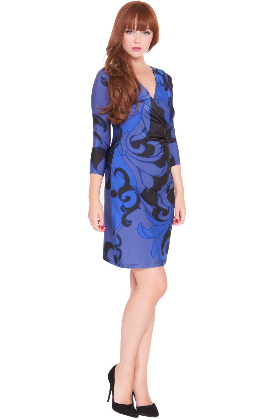 'Katherine' Maternity Wrap Dress,                         Main,                         color, Blue