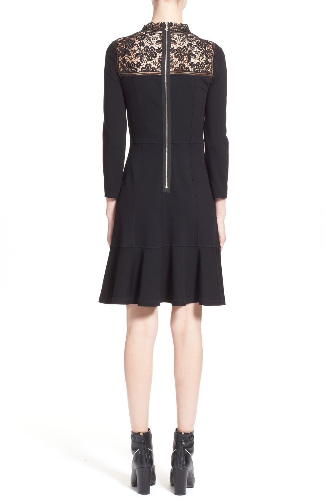 'Rieko' Lace Inset Jersey Dress,                             Alternate thumbnail 2, color,                             Black