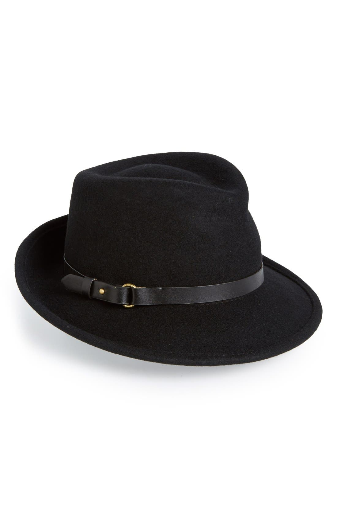 Classic Wool Fedora,                         Main,                         color, Black