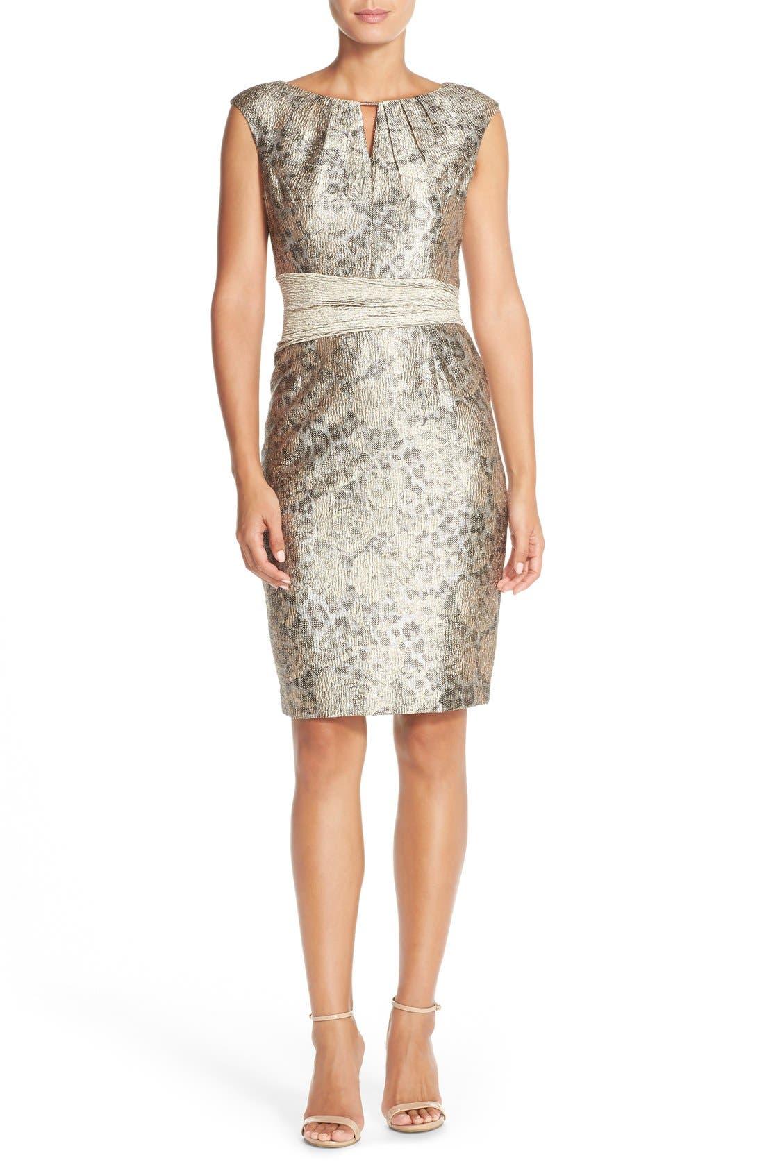 Alternate Image 3  - Ellen Tracy Metallic Jacquard Sheath Dress (Regular & Petite)