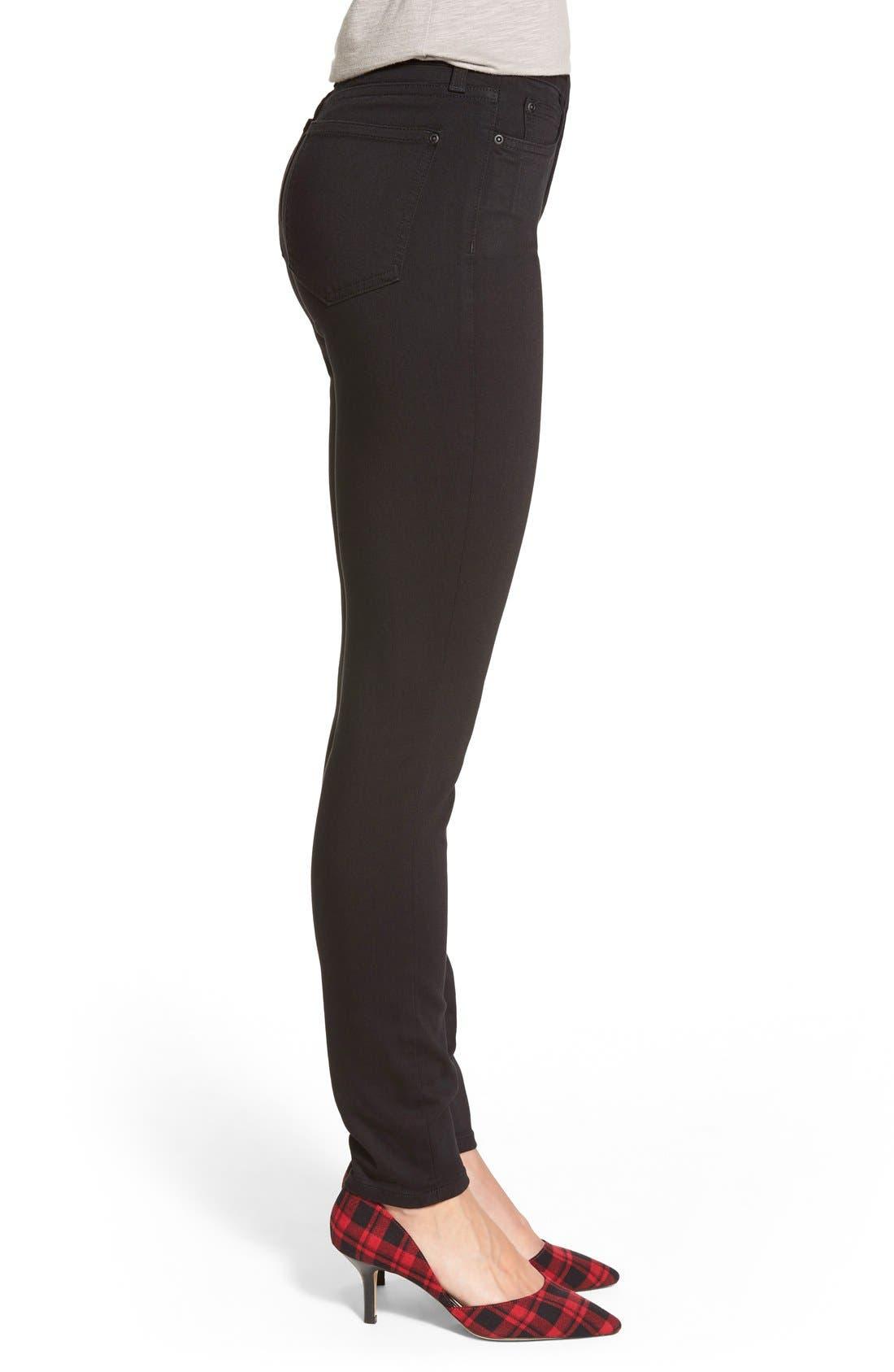 Ami Stretch Skinny Jeans,                             Alternate thumbnail 3, color,                             Black