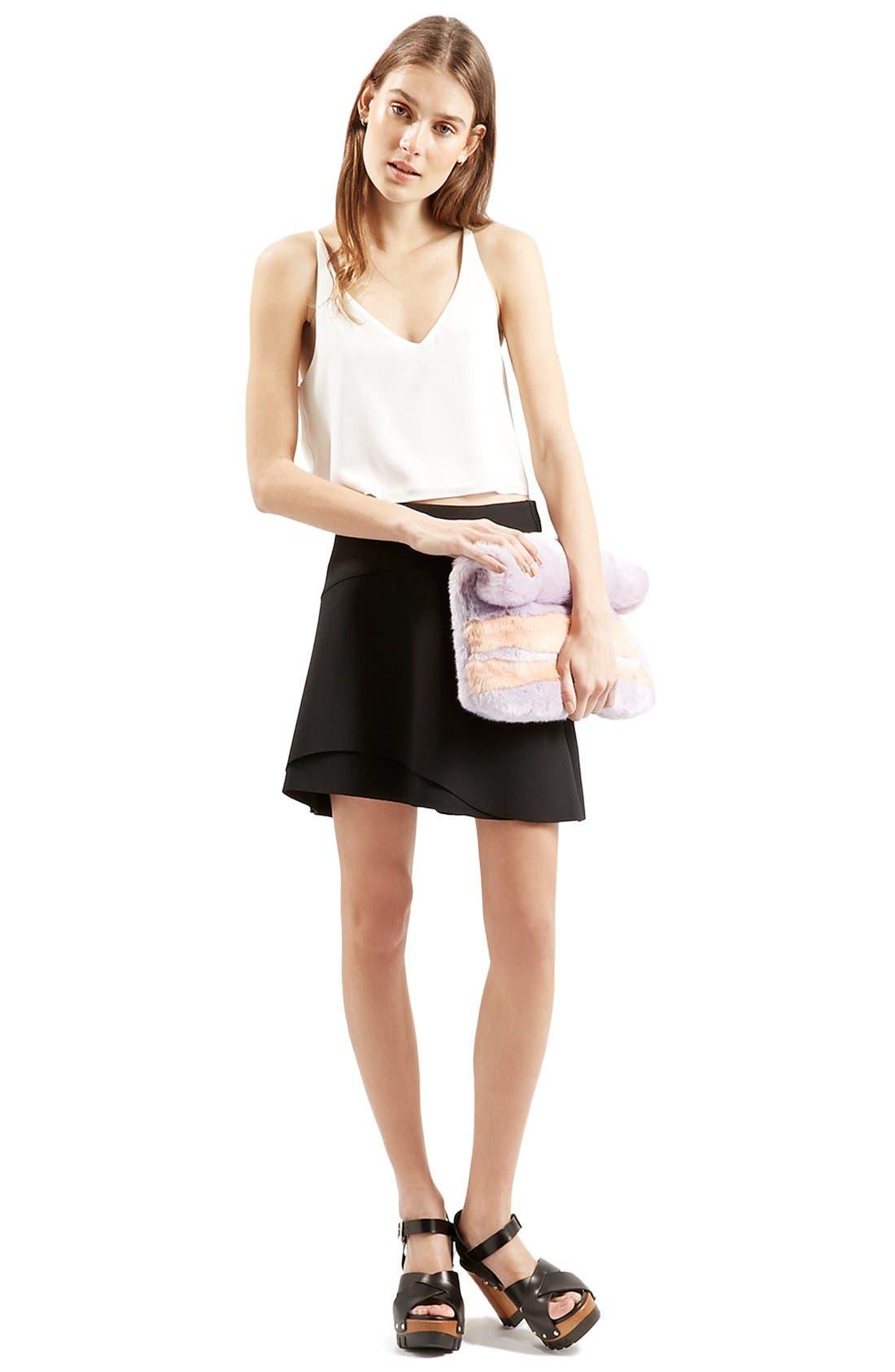 Alternate Image 2  - Topshop Curved Hem Skater Skirt