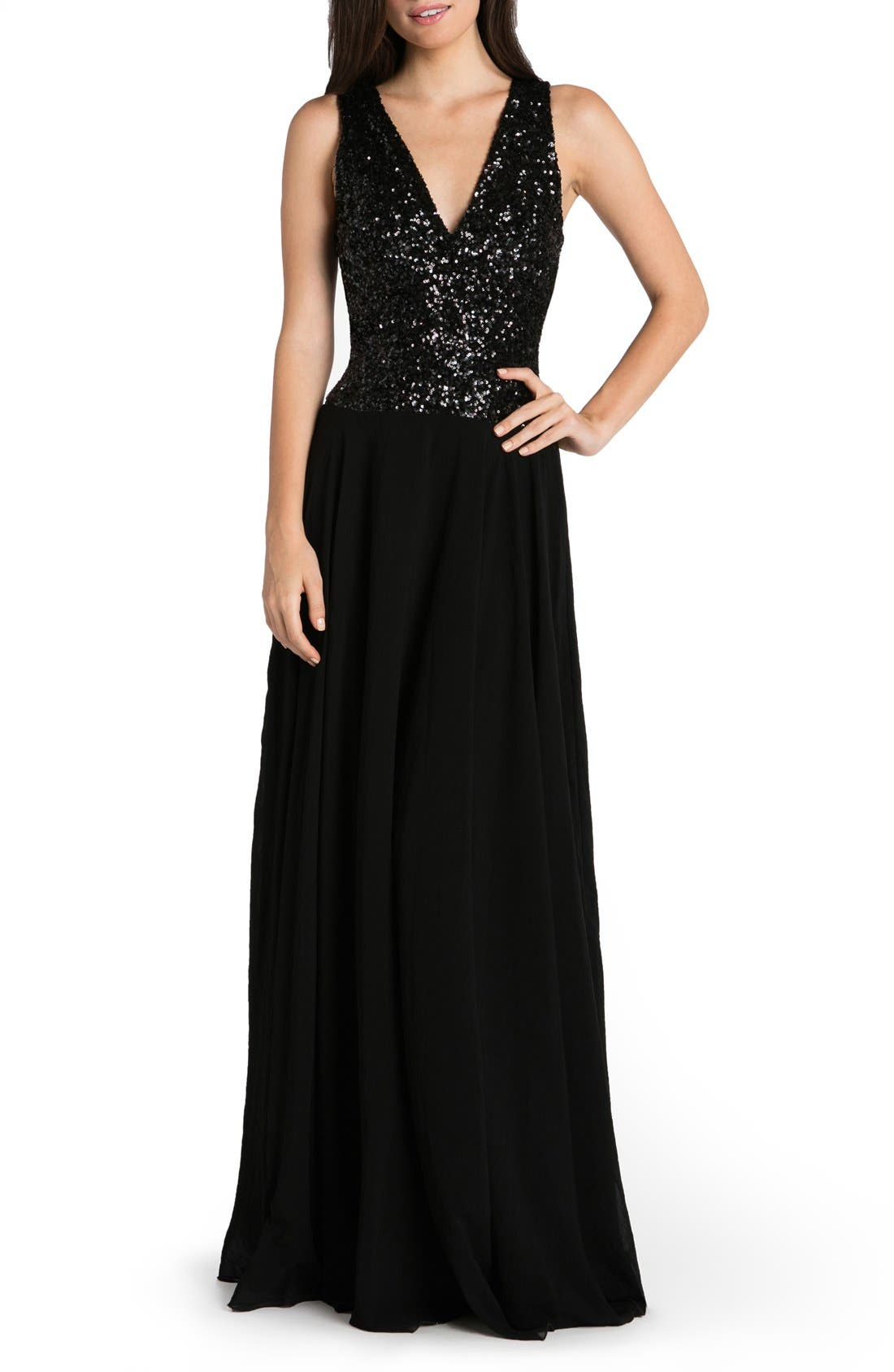 DRESS THE POPULATION Caroline Sequin & Chiffon Gown