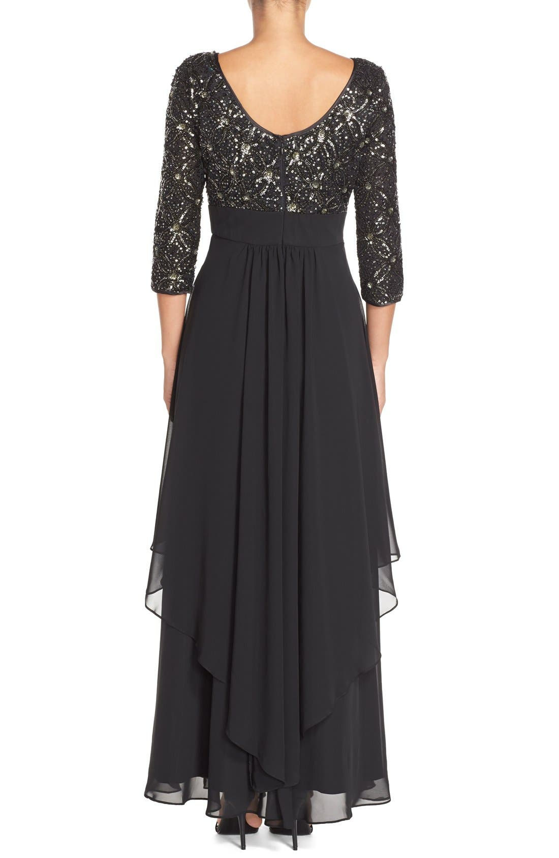 Embellished Tiered Chiffon Fit & Flare Gown,                             Alternate thumbnail 2, color,                             Black/ Grey