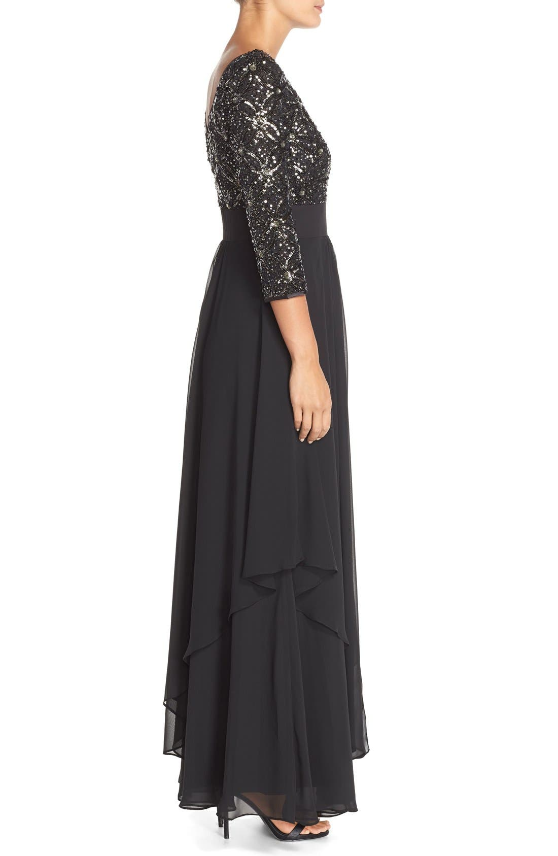 Embellished Tiered Chiffon Fit & Flare Gown,                             Alternate thumbnail 3, color,                             Black/ Grey