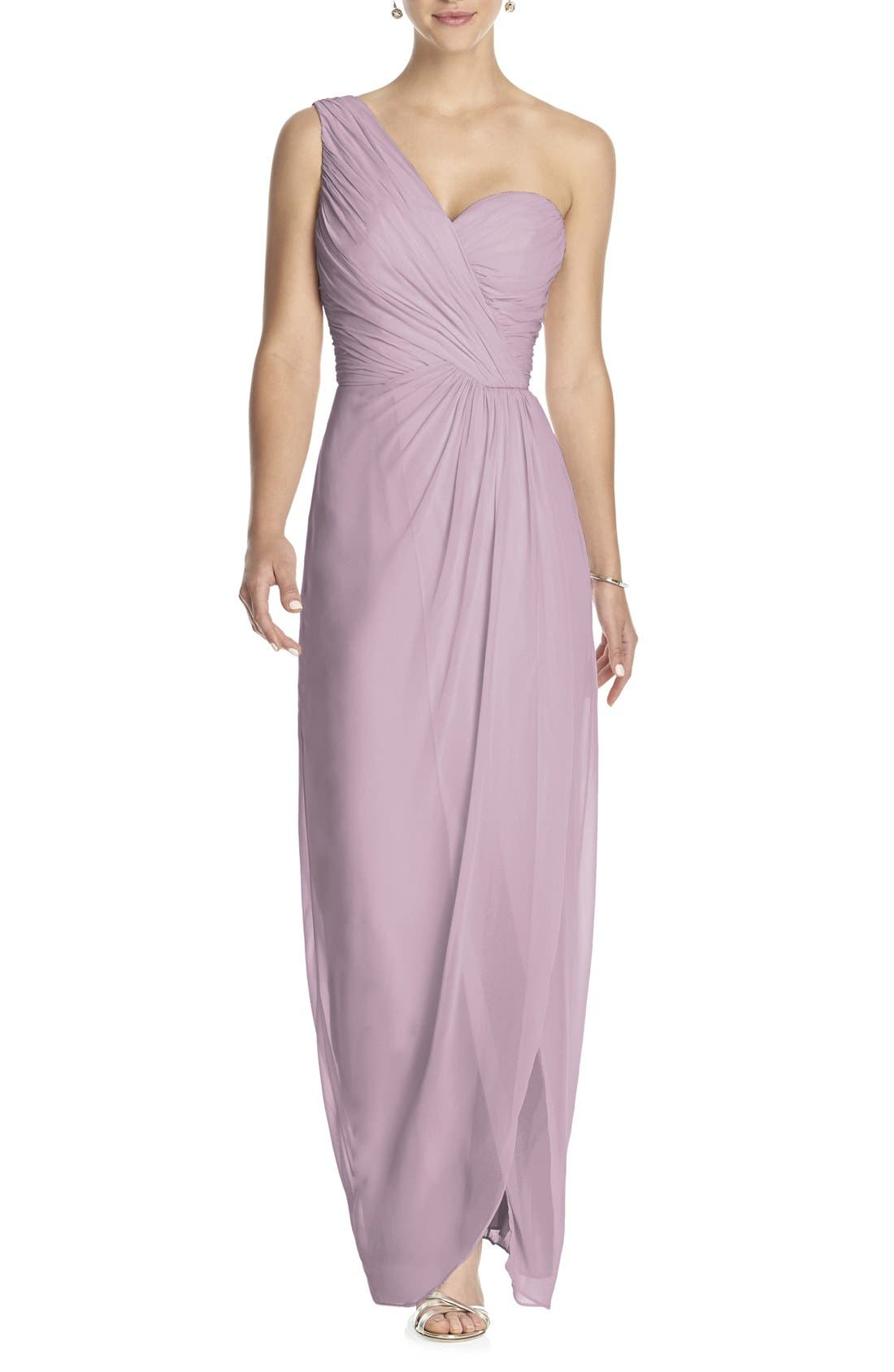 Dessy Collection One-Shoulder Draped Chiffon Gown,                         Main,                         color, Suede Rose