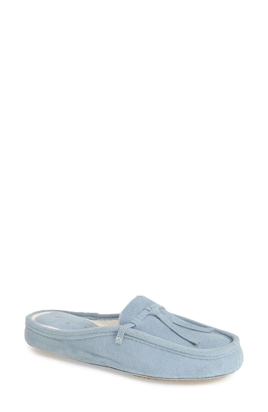patriciagreen 'Greenwich' Mule Slipper,                             Main thumbnail 1, color,                             Light Blue Suede