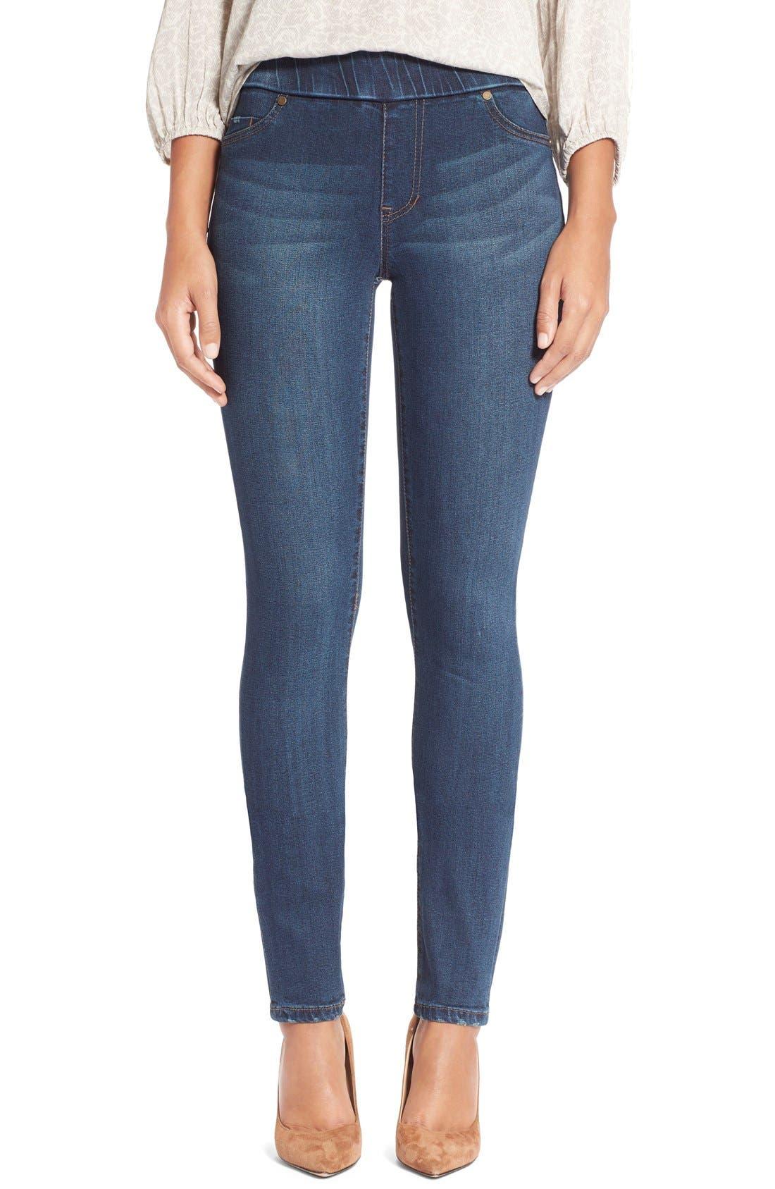 Sienna Pull-On Knit Denim Leggings,                         Main,                         color, Petrol Wash