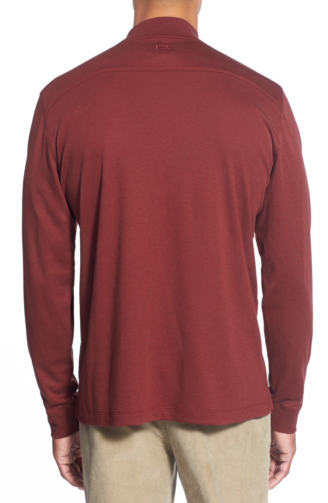 Alternate Image 2  - Cutter & Buck 'Belfair' Long Sleeve Mock Neck Pima Cotton T-Shirt