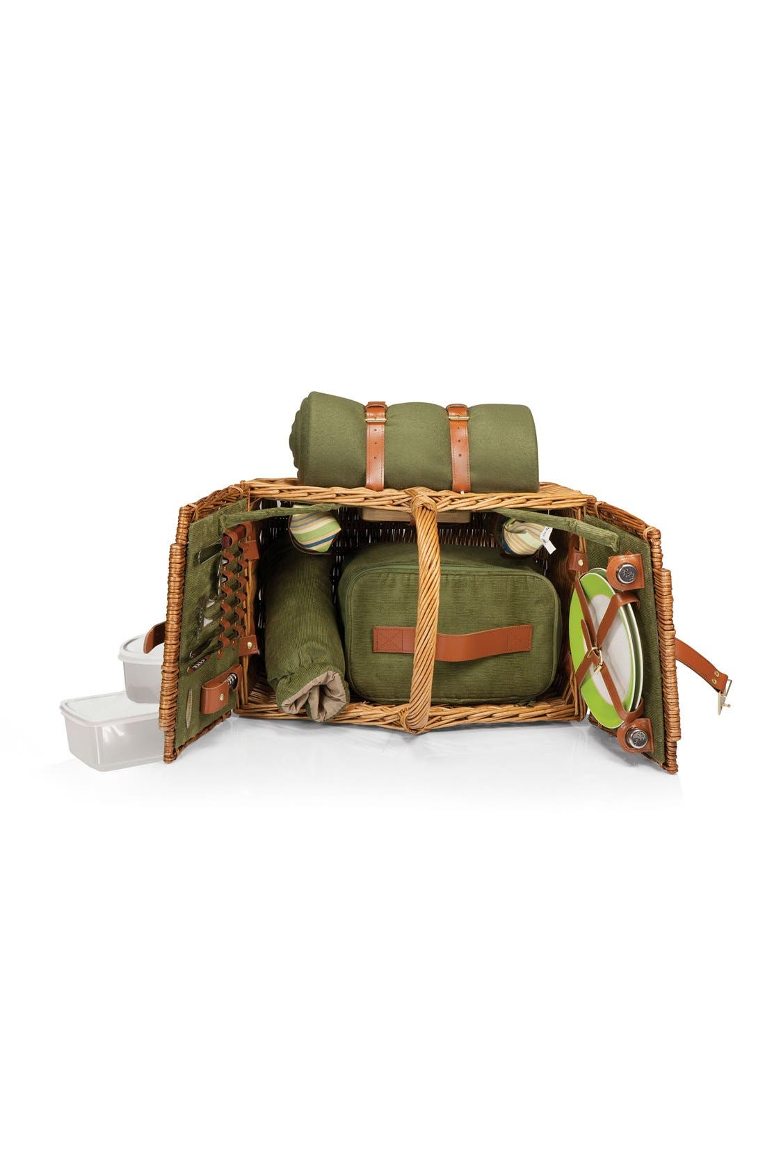 'Somerset' Wicker Picnic Basket,                             Alternate thumbnail 7, color,                             Green