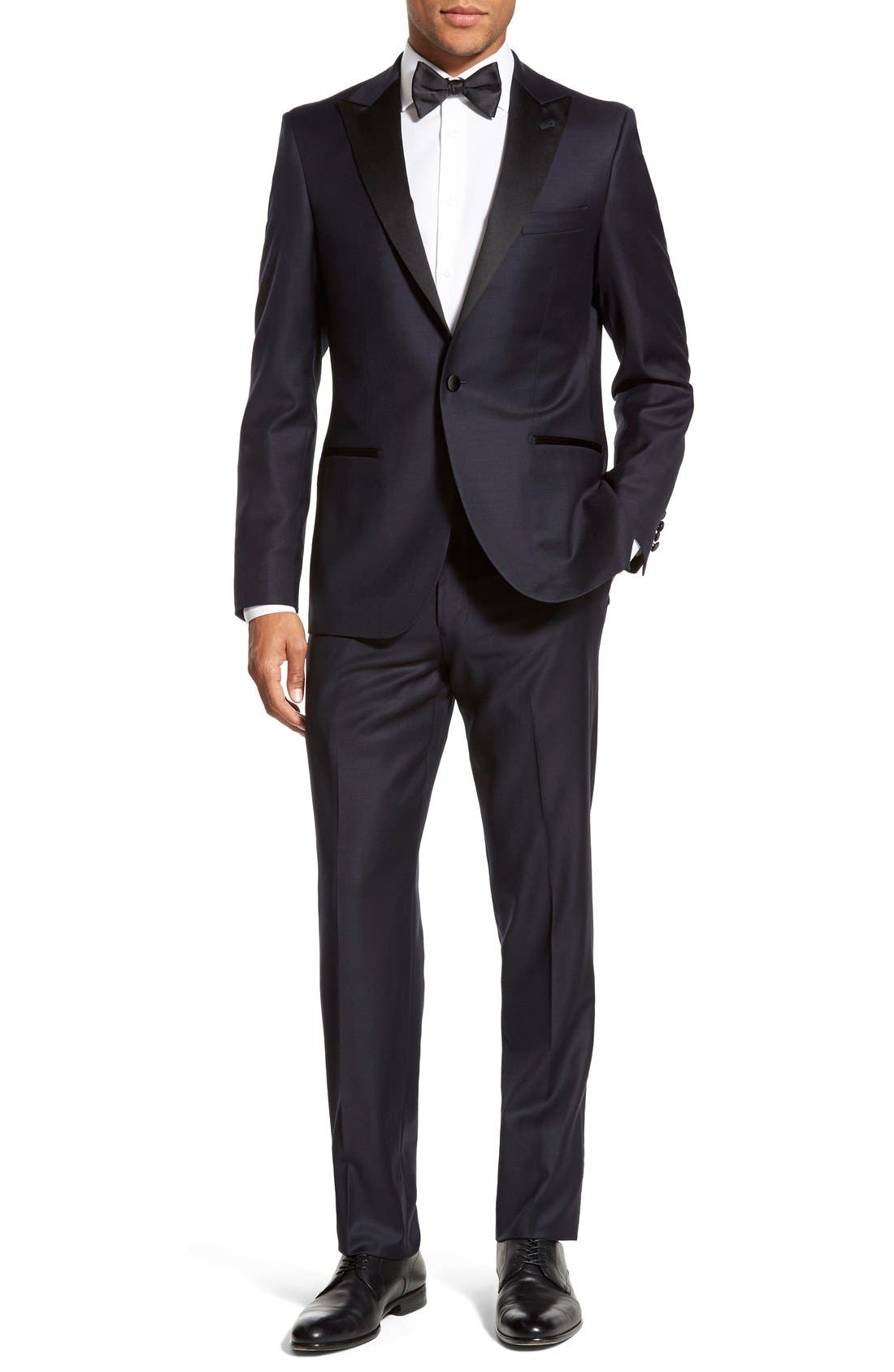 'Aston' Trim Fit Solid Wool Tuxedo,                         Main,                         color, Navy
