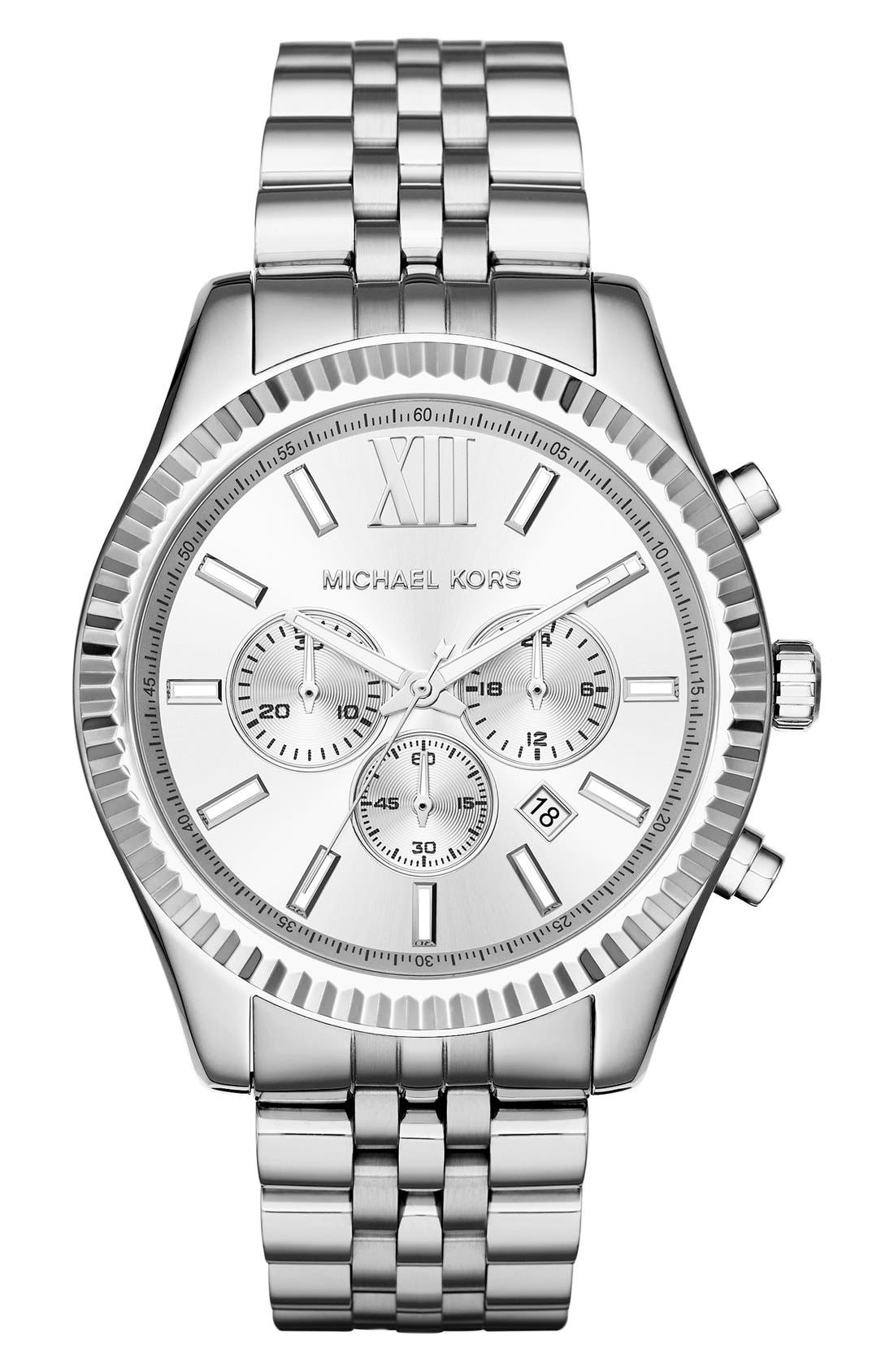 'Lexington' Chronograph Bracelet Watch, 44mm,                             Main thumbnail 1, color,                             Silver