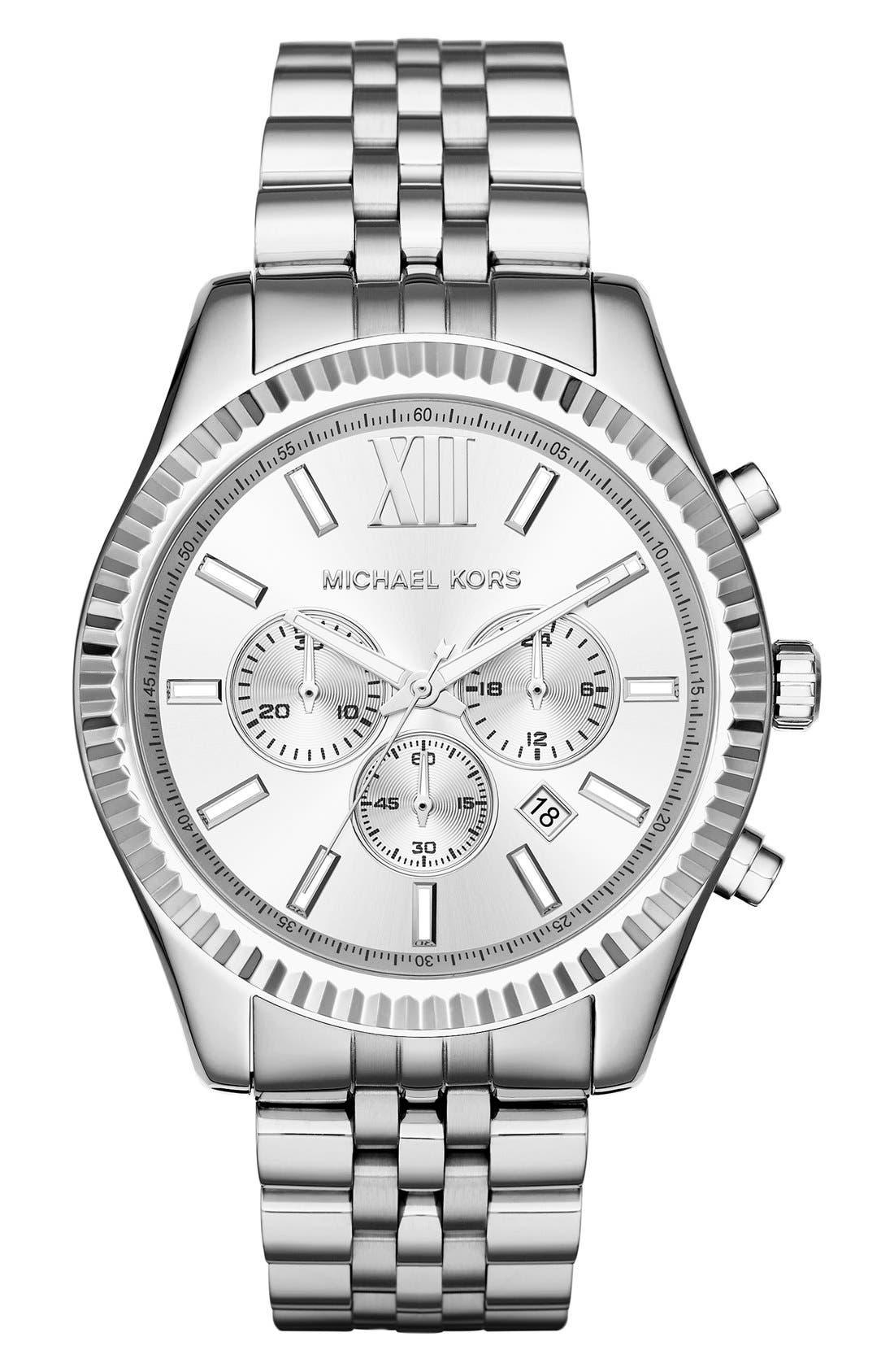 'Lexington' Chronograph Bracelet Watch,44mm,                         Main,                         color, Silver