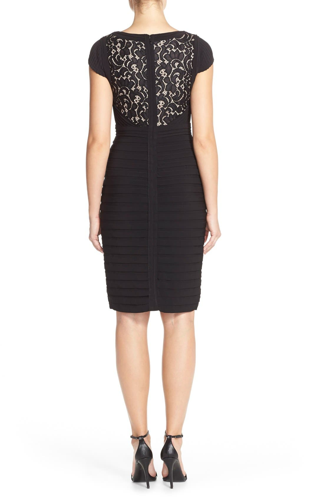 Lace & Jersey Sheath Dress,                             Alternate thumbnail 2, color,                             Black