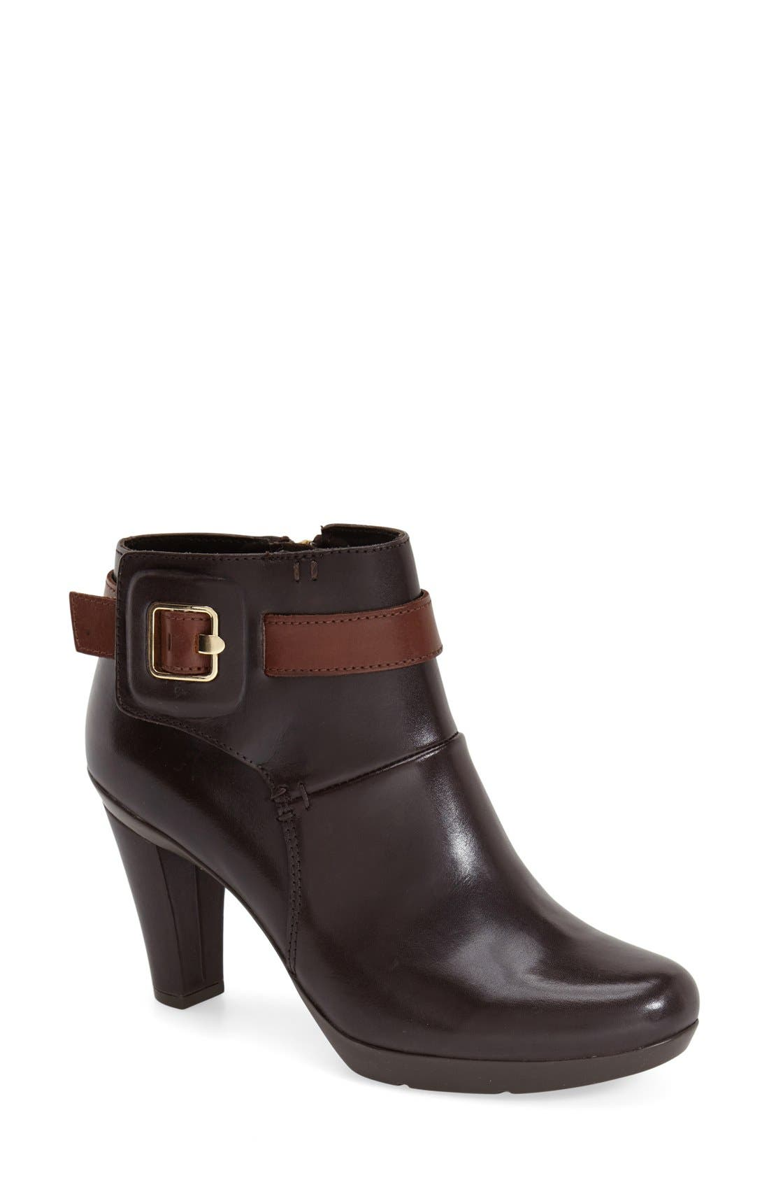 'Inspiration' Bootie,                             Main thumbnail 1, color,                             Dark Brown Smooth Leather