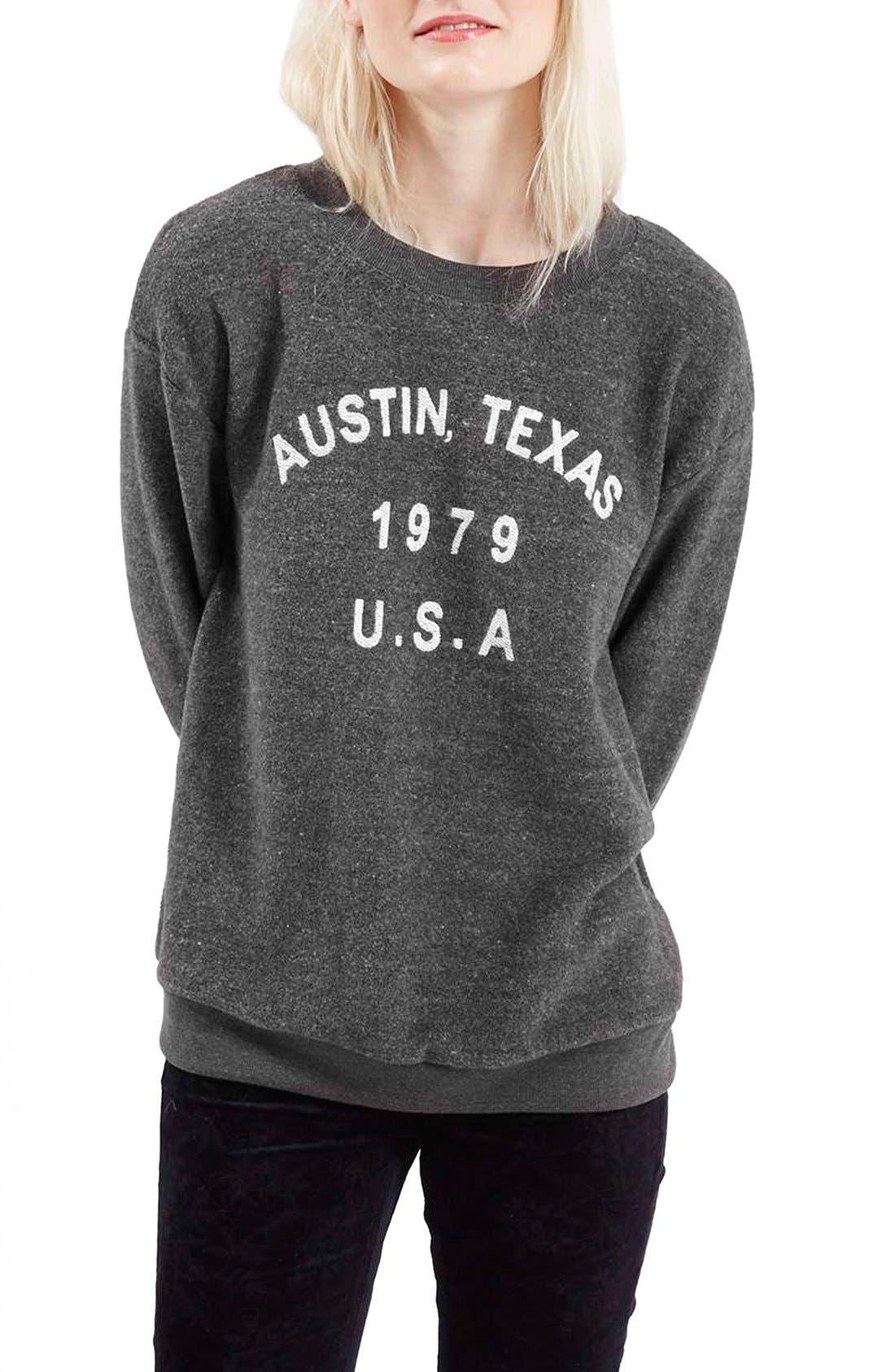 Alternate Image 1 Selected - Topshop 'Austin, Texas' Crewneck Sweatshirt