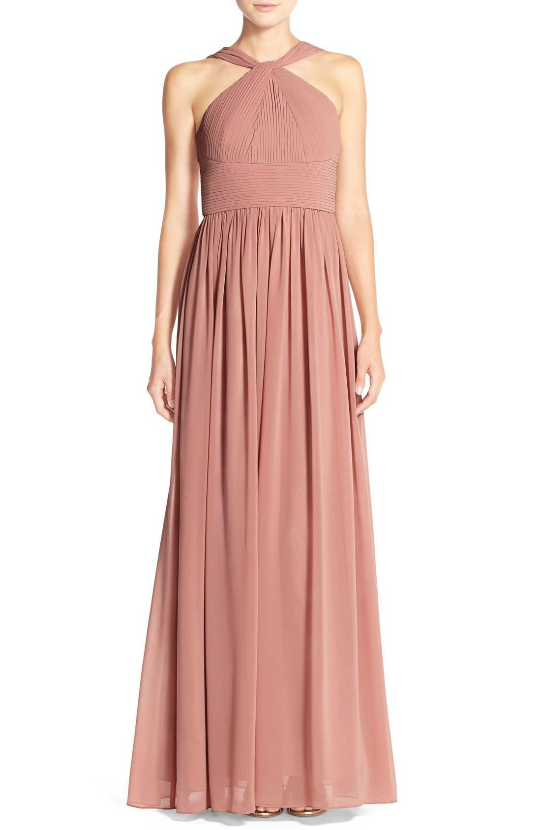 Main Image - DonnaMorgan 'Hayley' Halter Style Pleat Chiffon Gown