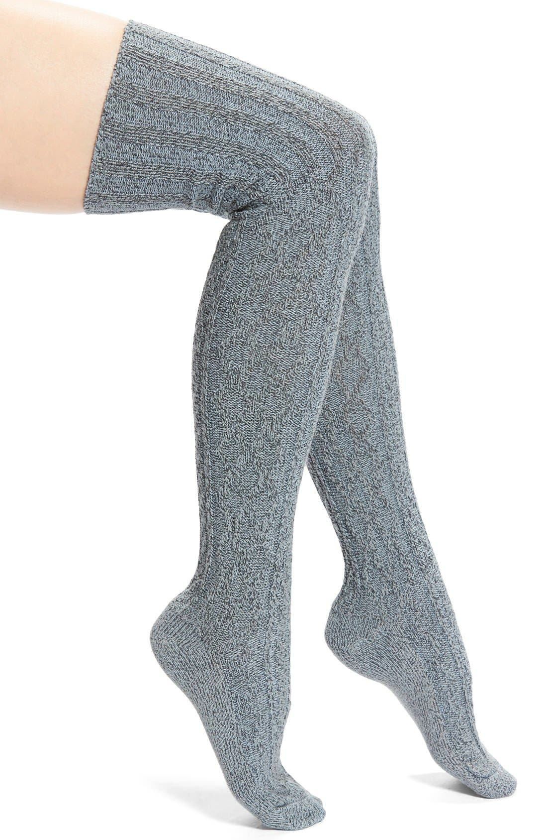 MarledCable Knit Thigh High Socks,                         Main,                         color, Charcoal