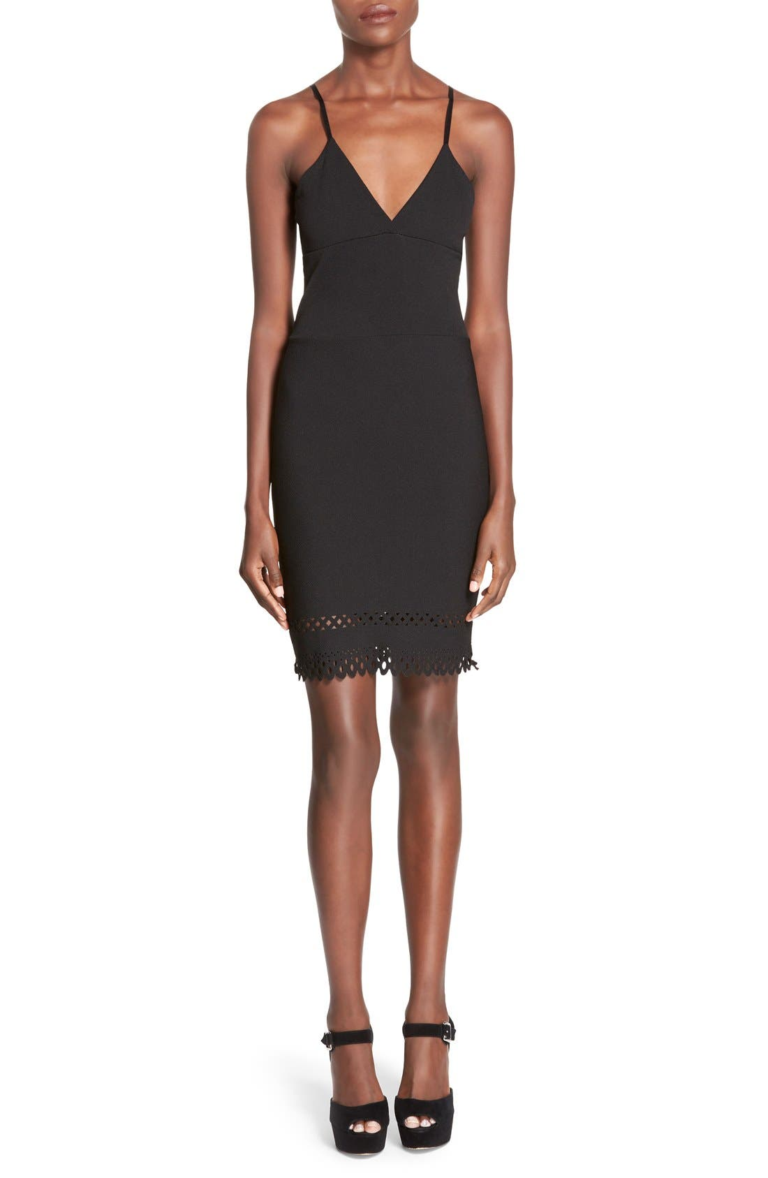Alternate Image 1 Selected - Missguided Laser Cut Hem Body-Con Dress