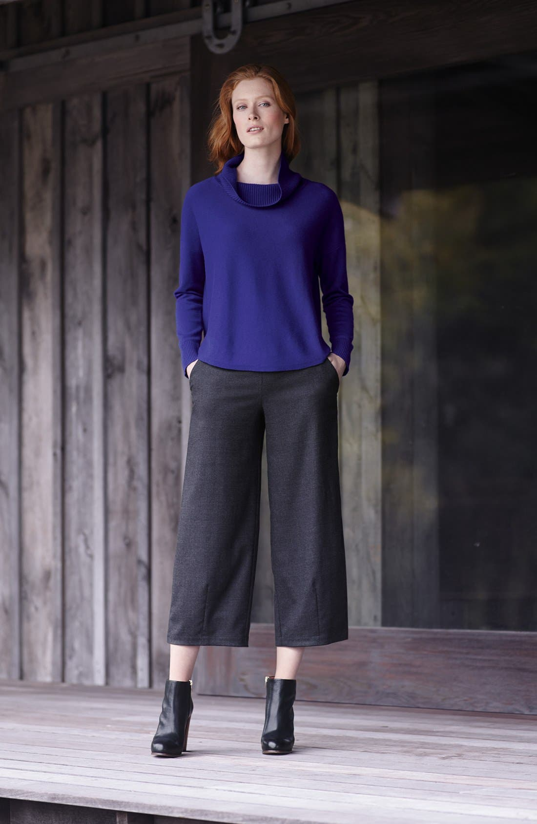 Eileen Fisher Draped Turtleneck Sweater,                             Alternate thumbnail 6, color,