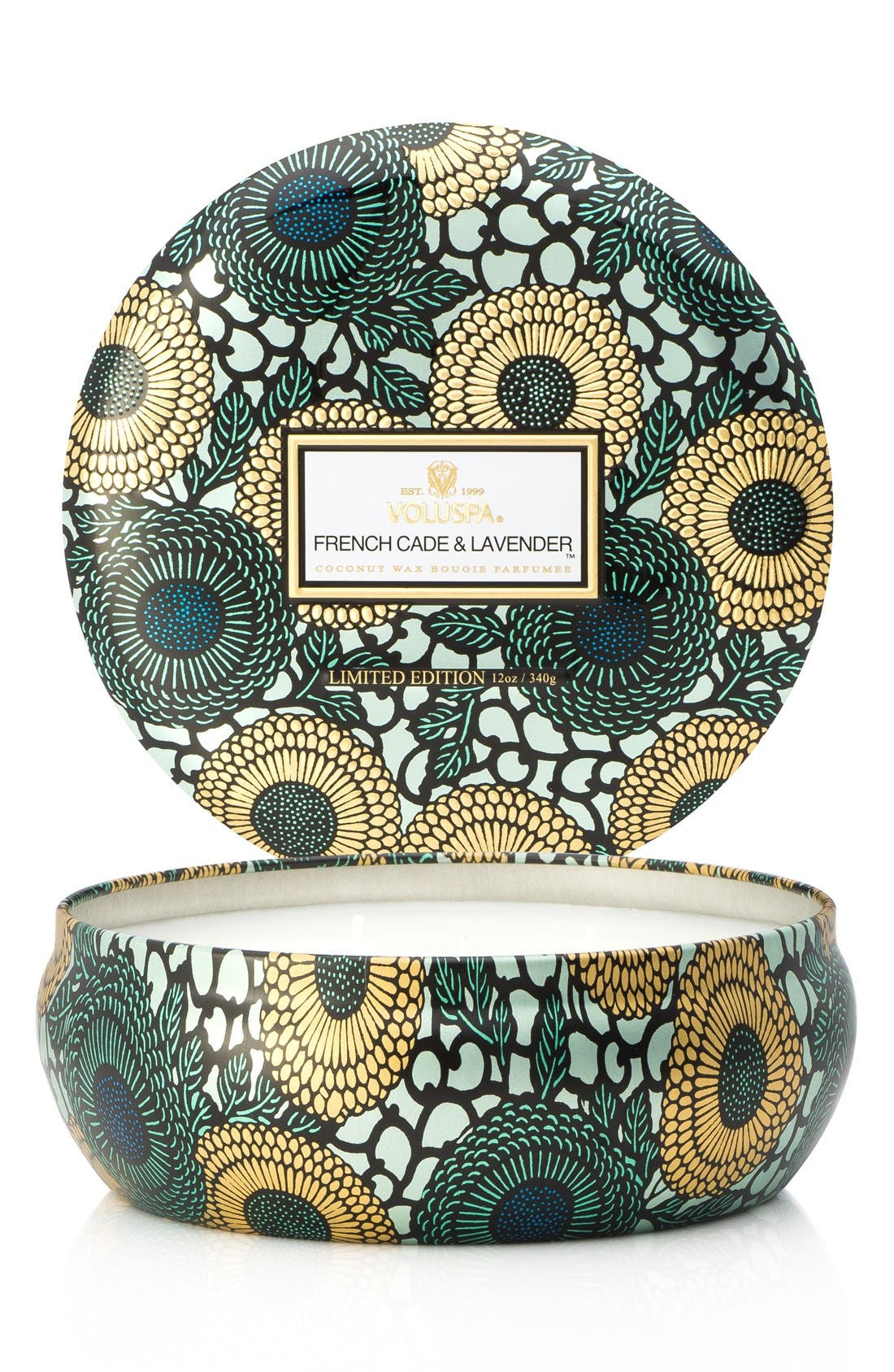 Japonica French Cade Lavender Three-Wick Decorative Tin Candle,                         Main,                         color, No Color