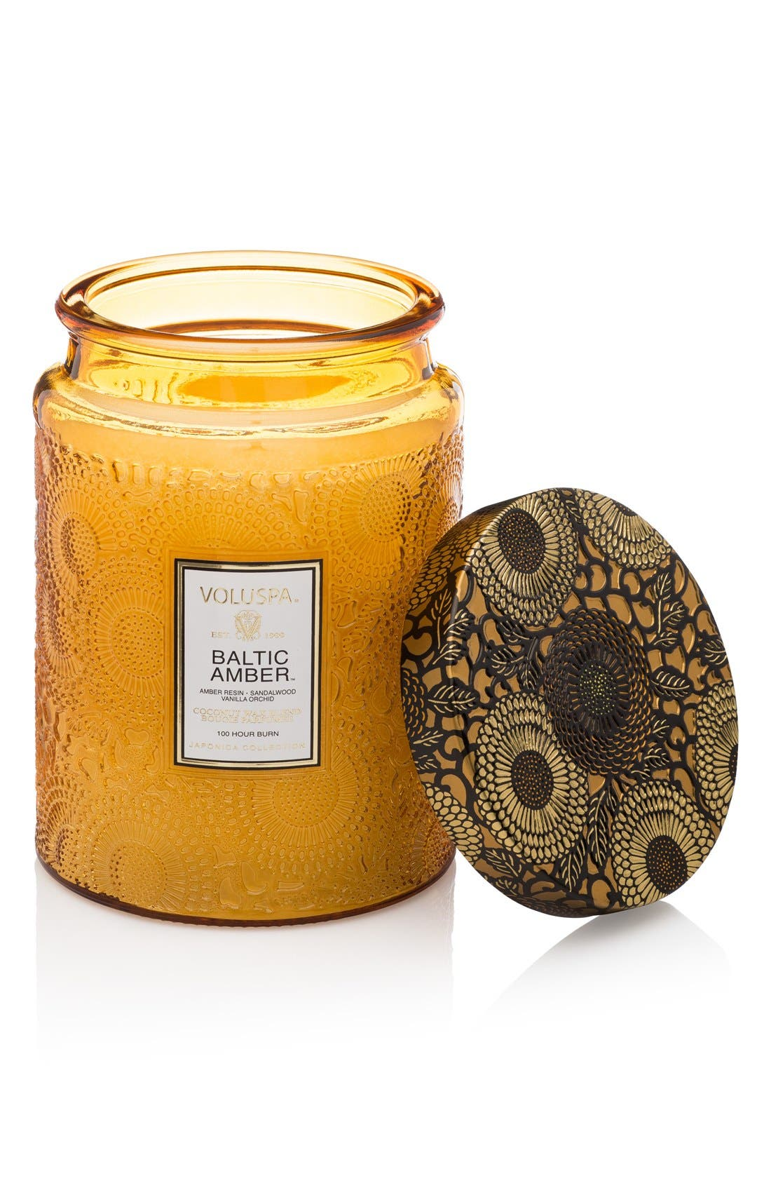 Japonica Baltic Amber Large Embossed Glass Jar Candle,                         Main,                         color, No Color