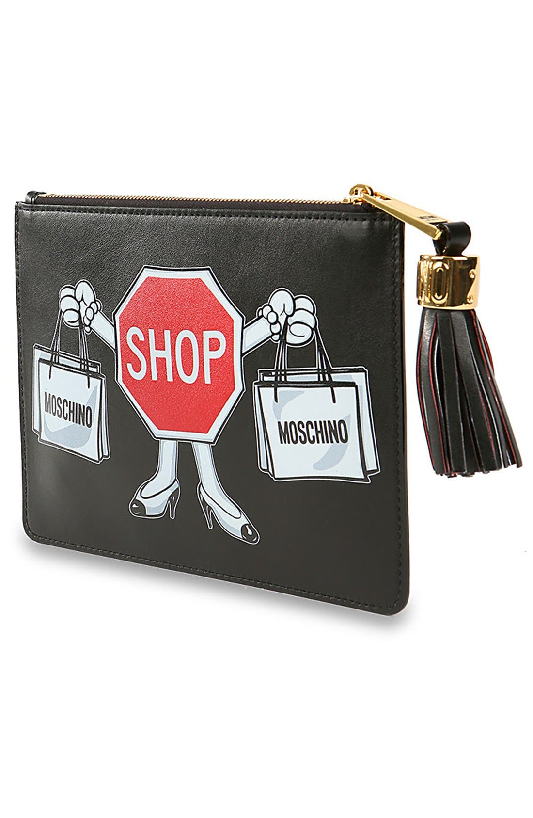Alternate Image 2  - MoschinoGraphicLeather Clutch
