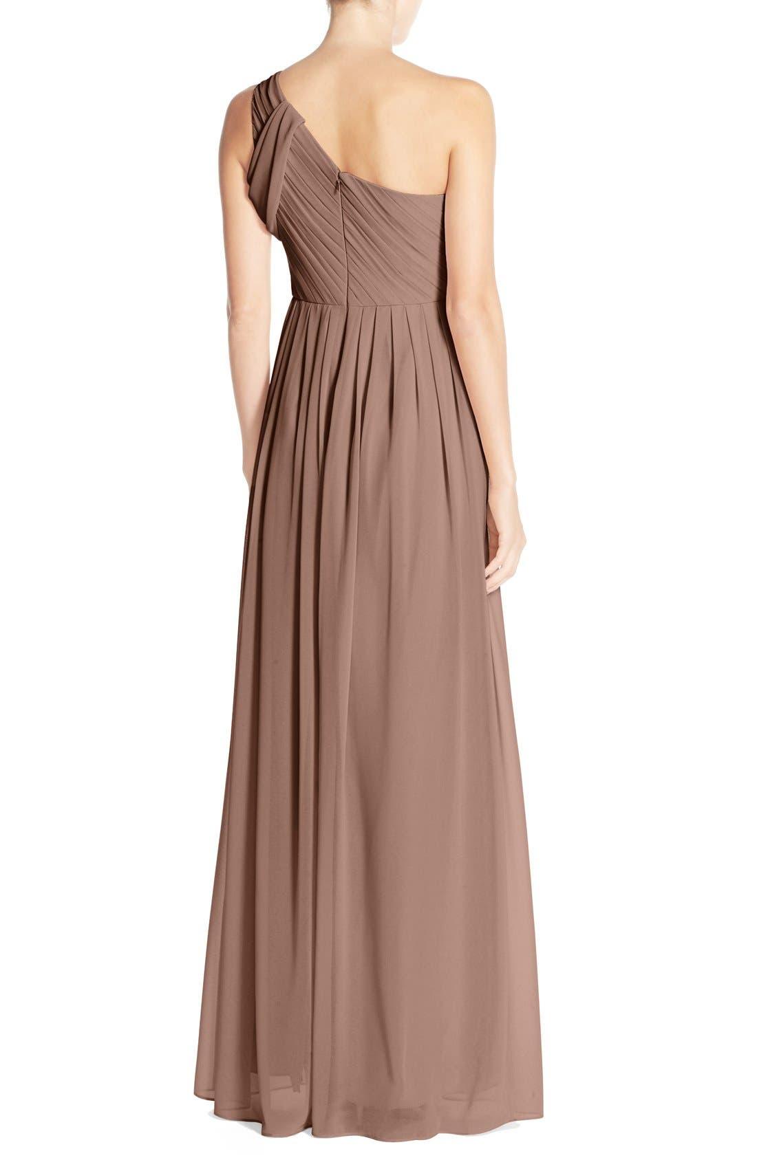'Chloe' One-Shoulder Pleat Chiffon Gown,                             Alternate thumbnail 2, color,                             Hibiscus Tea
