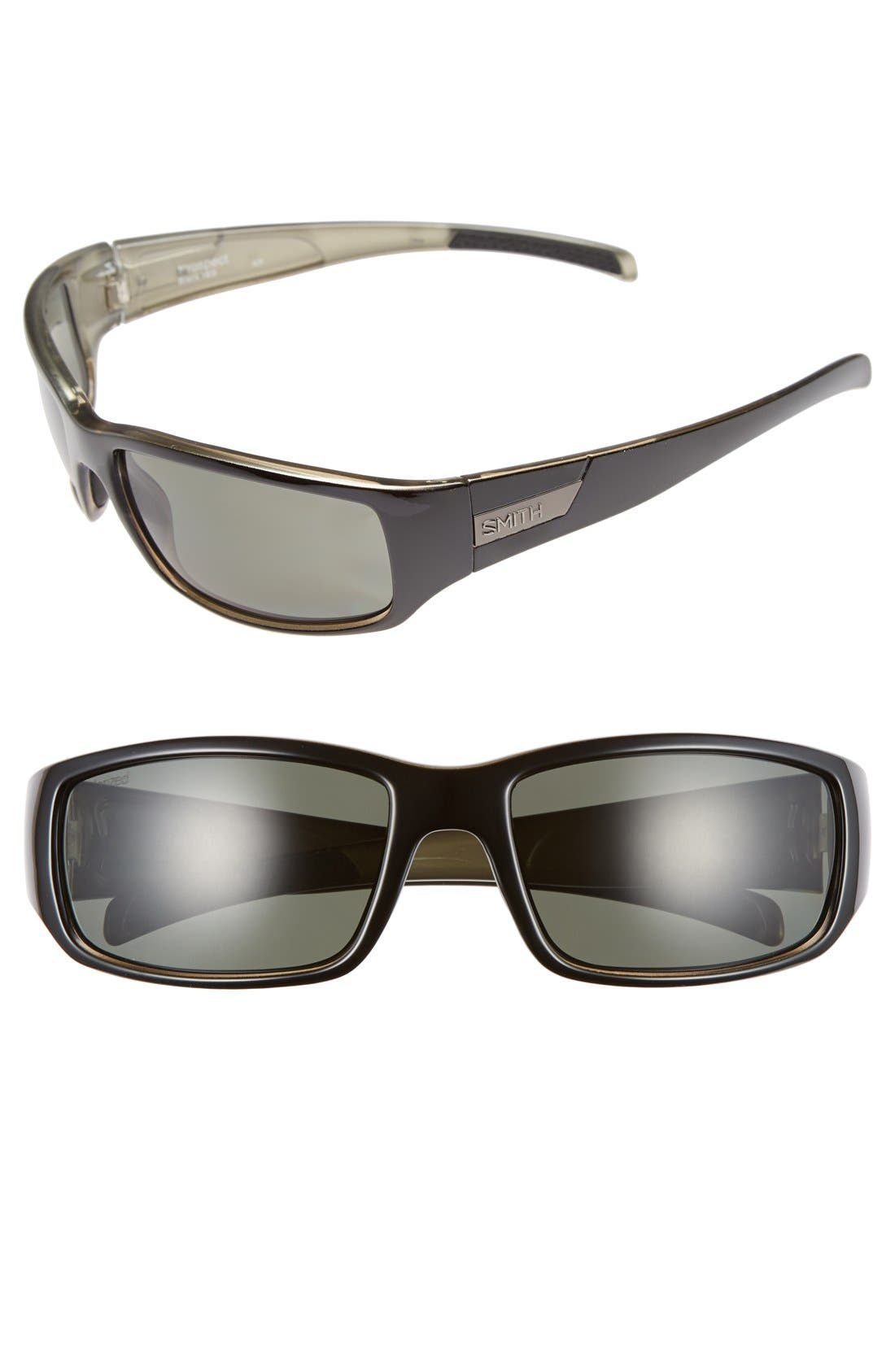 'Prospect' 60mm Polarized Sunglasses,                             Main thumbnail 1, color,                             Black/ Grey Green