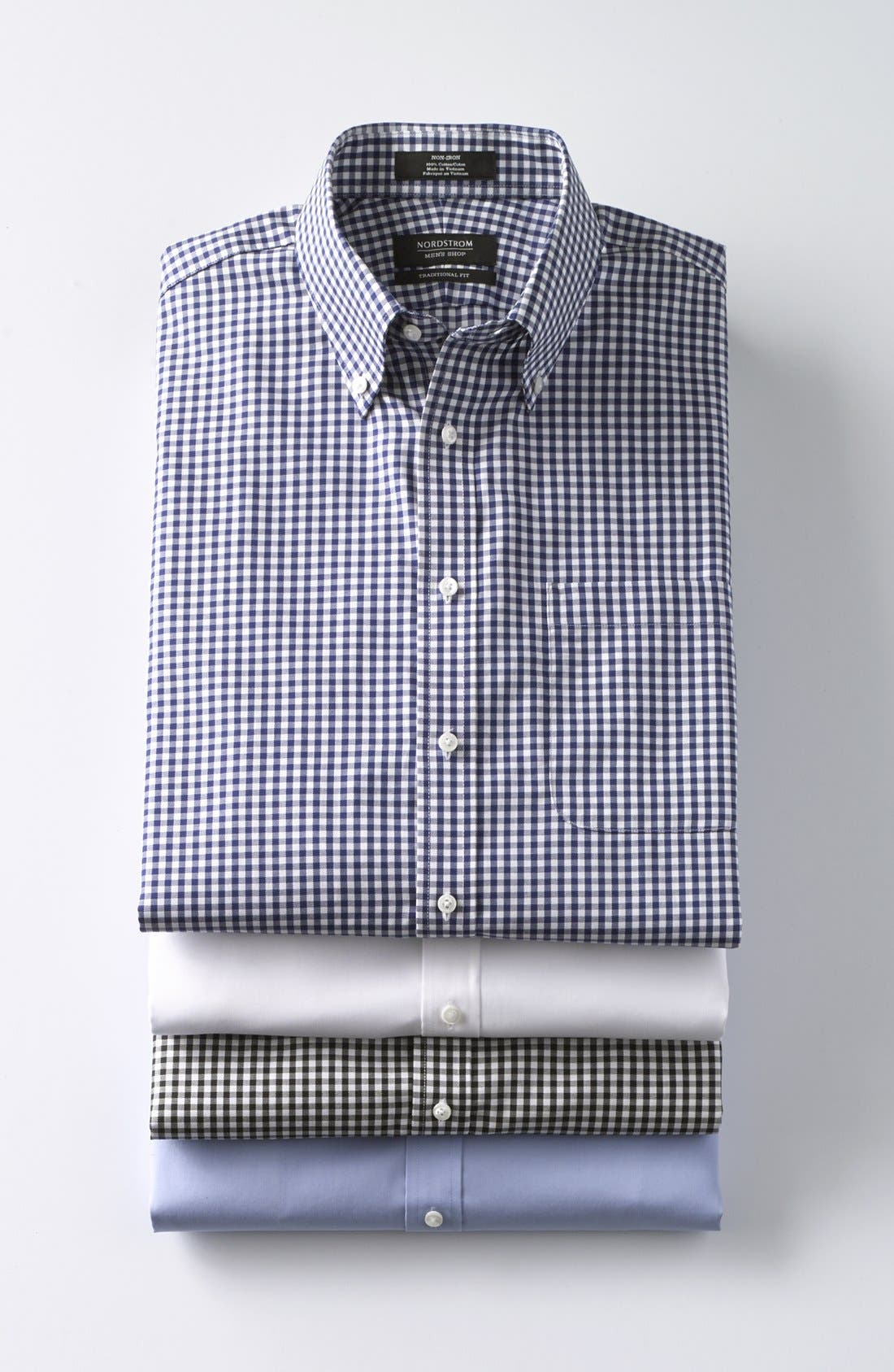 Traditional Fit Non-Iron Gingham Dress Shirt,                             Alternate thumbnail 7, color,