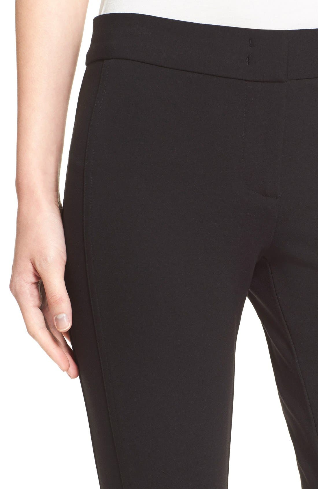 Armani Collezioni Double Face Jersey Leggings,                             Alternate thumbnail 7, color,                             Black
