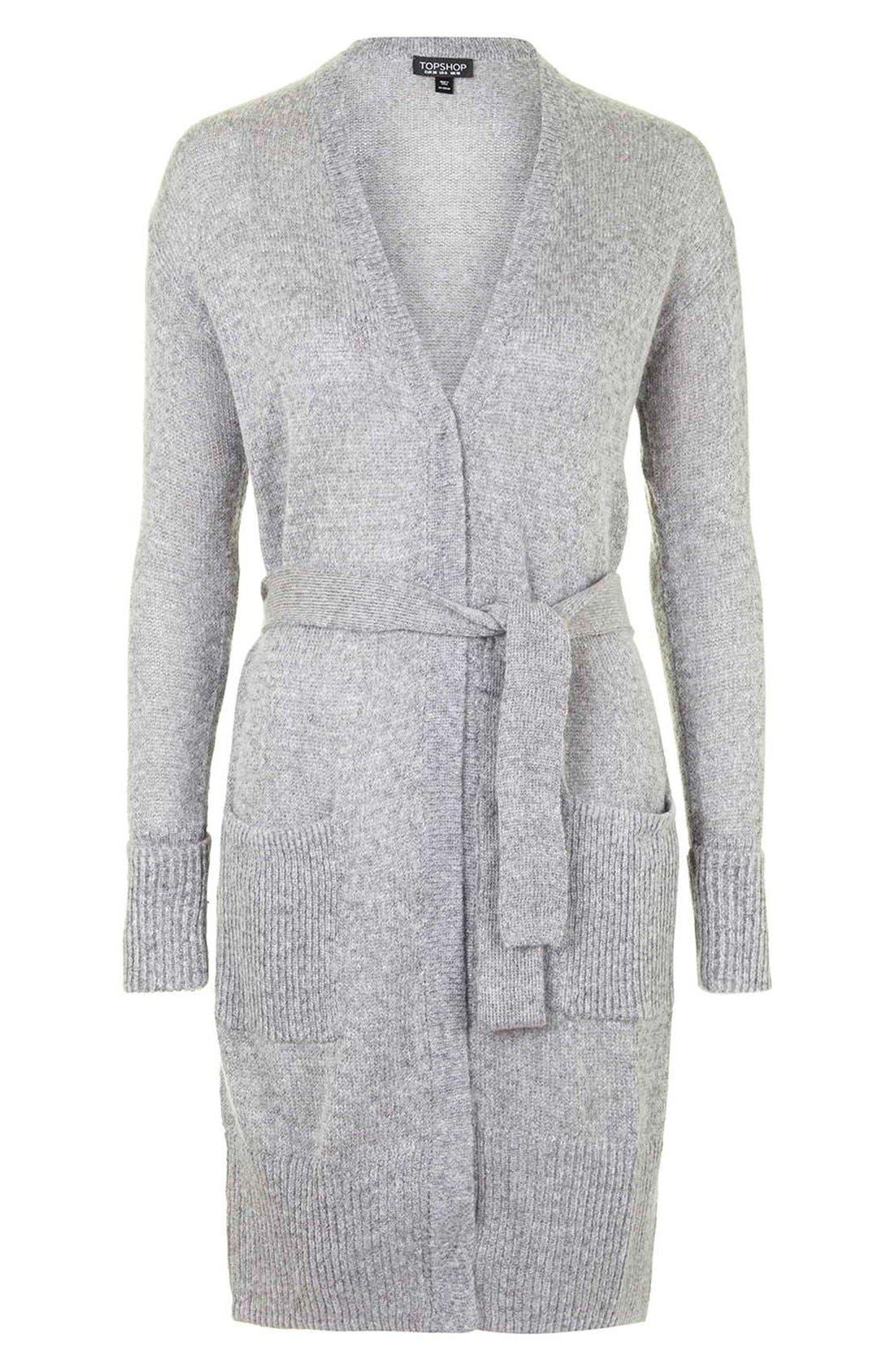 'Lulu' Belted Longline Cardigan,                             Alternate thumbnail 5, color,                             Light Grey