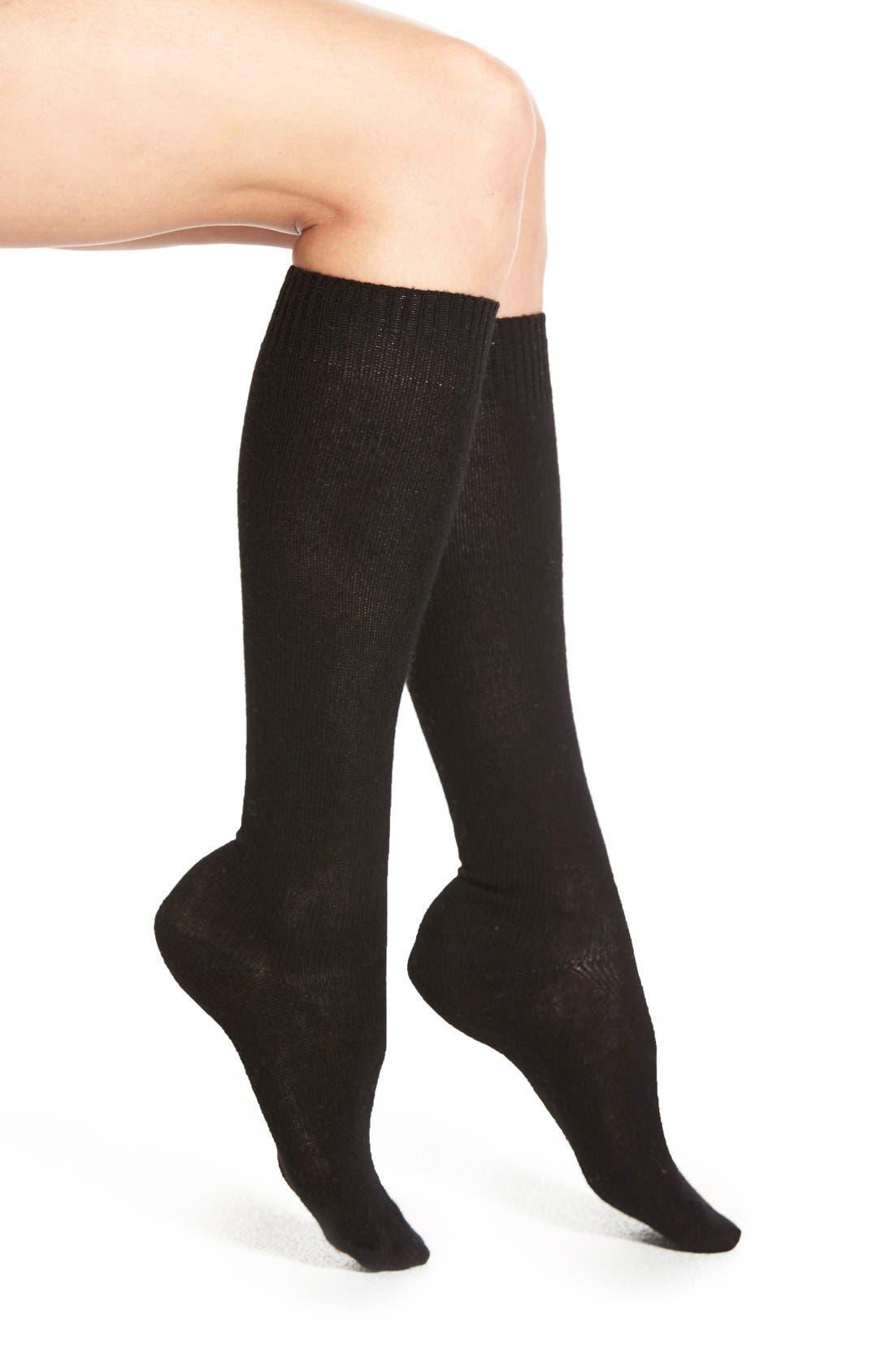 Merino Wool Blend Knee Socks,                             Main thumbnail 1, color,                             Black