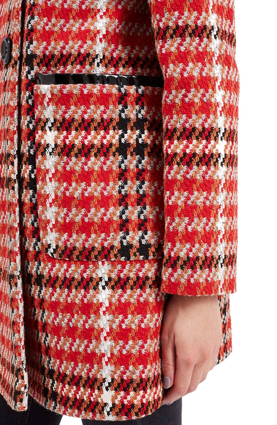 Check Double Breasted Coat,                             Alternate thumbnail 5, color,                             Red Multi