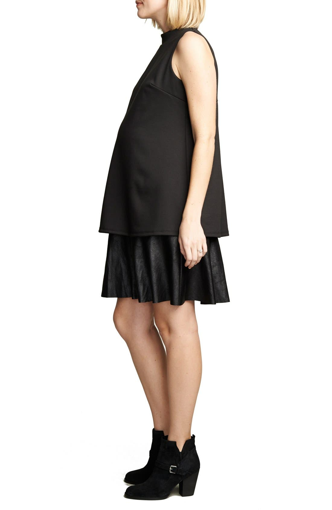 'Lucy' Maternity Dress,                             Alternate thumbnail 3, color,                             Black/Vegan Suede