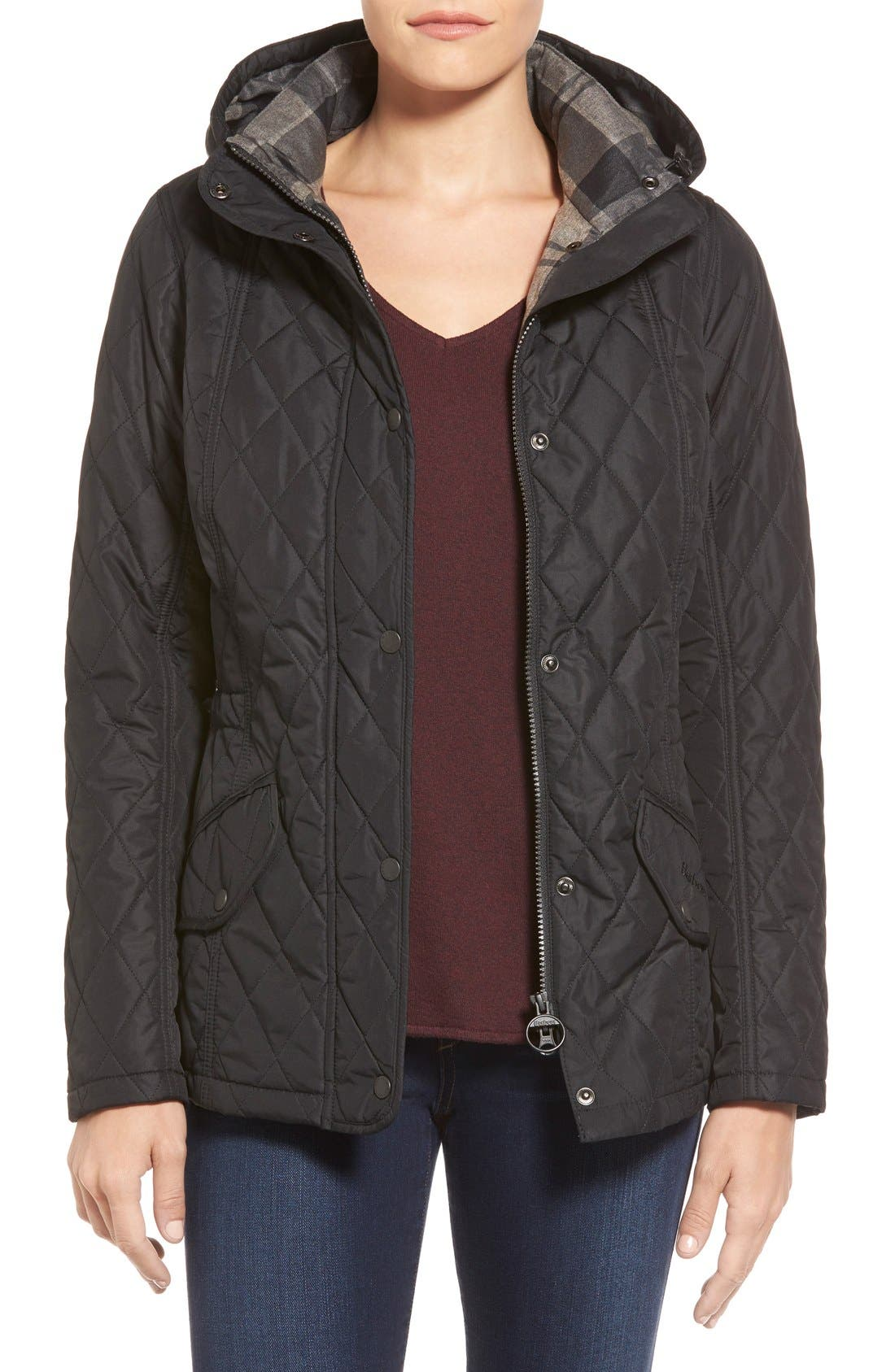 'Millfire' Hooded Quilted Jacket,                             Main thumbnail 1, color,                             Black
