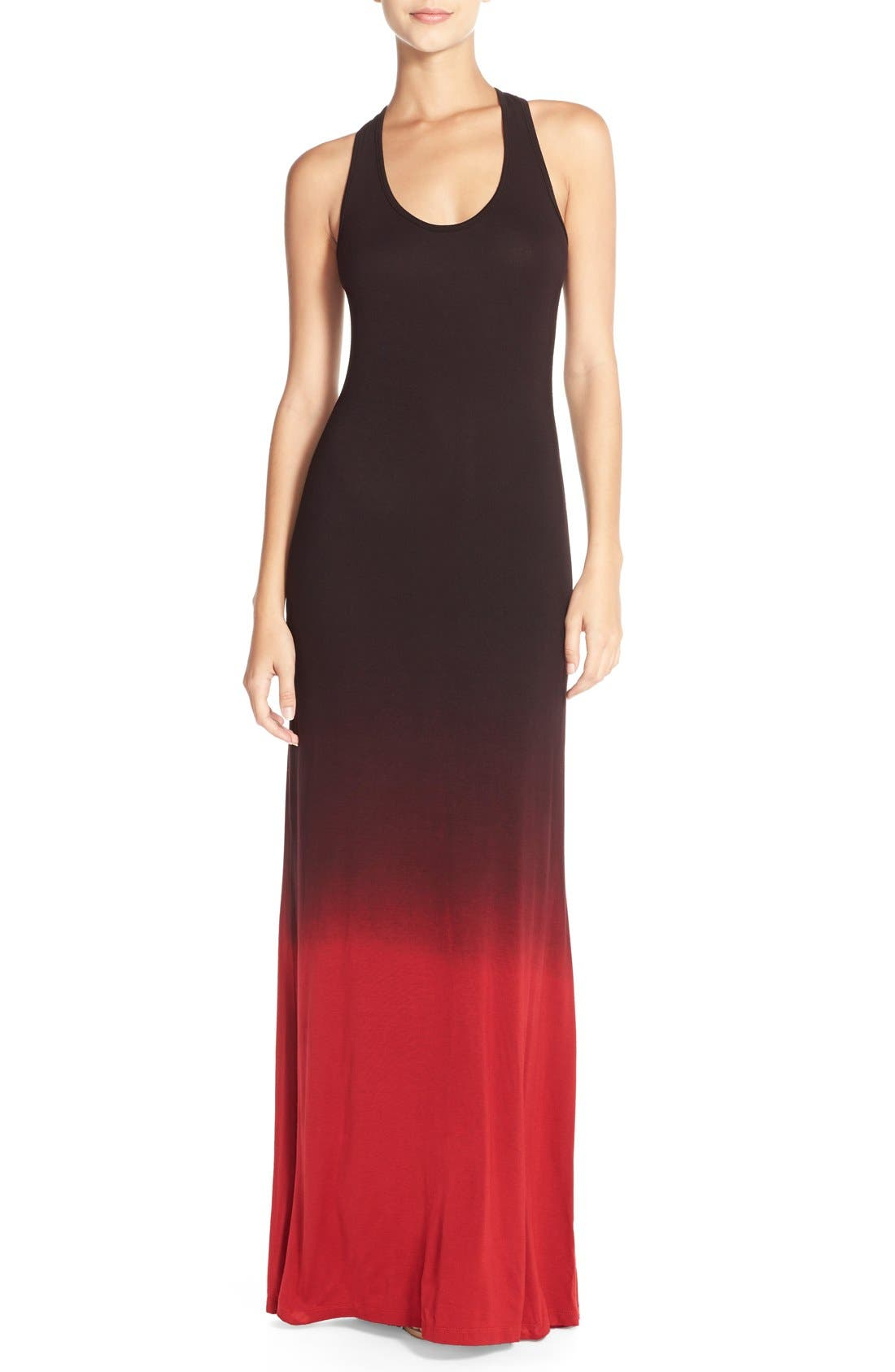 Racerback Maxi Dress,                         Main,                         color, Black/ Red Ombre
