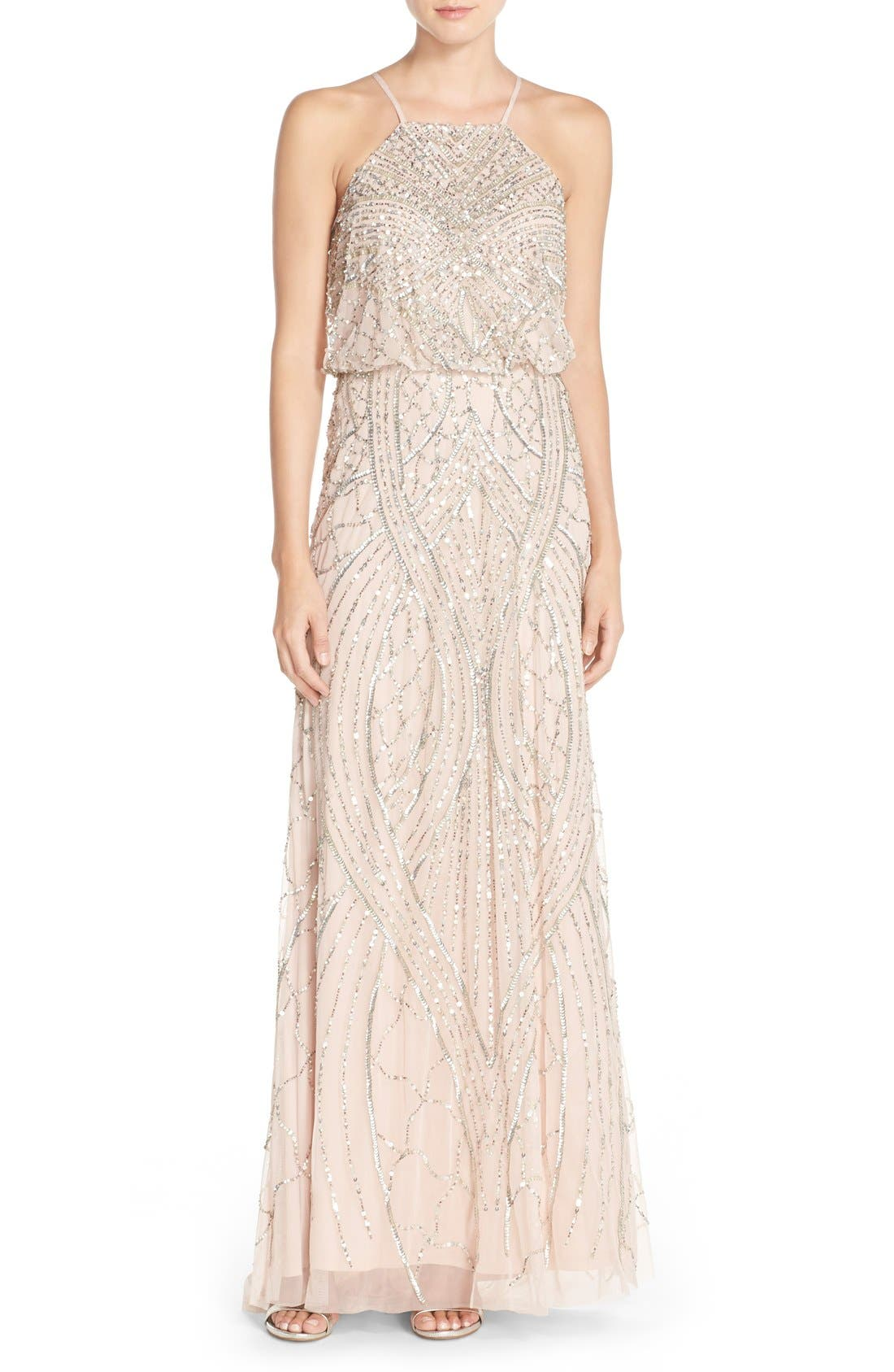 Sequin Chiffon Blouson Gown,                         Main,                         color, Shell