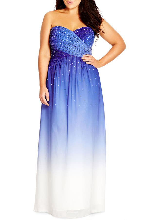 City Chic Enchanted Embellished Strapless Ombr Maxi Dress Plus