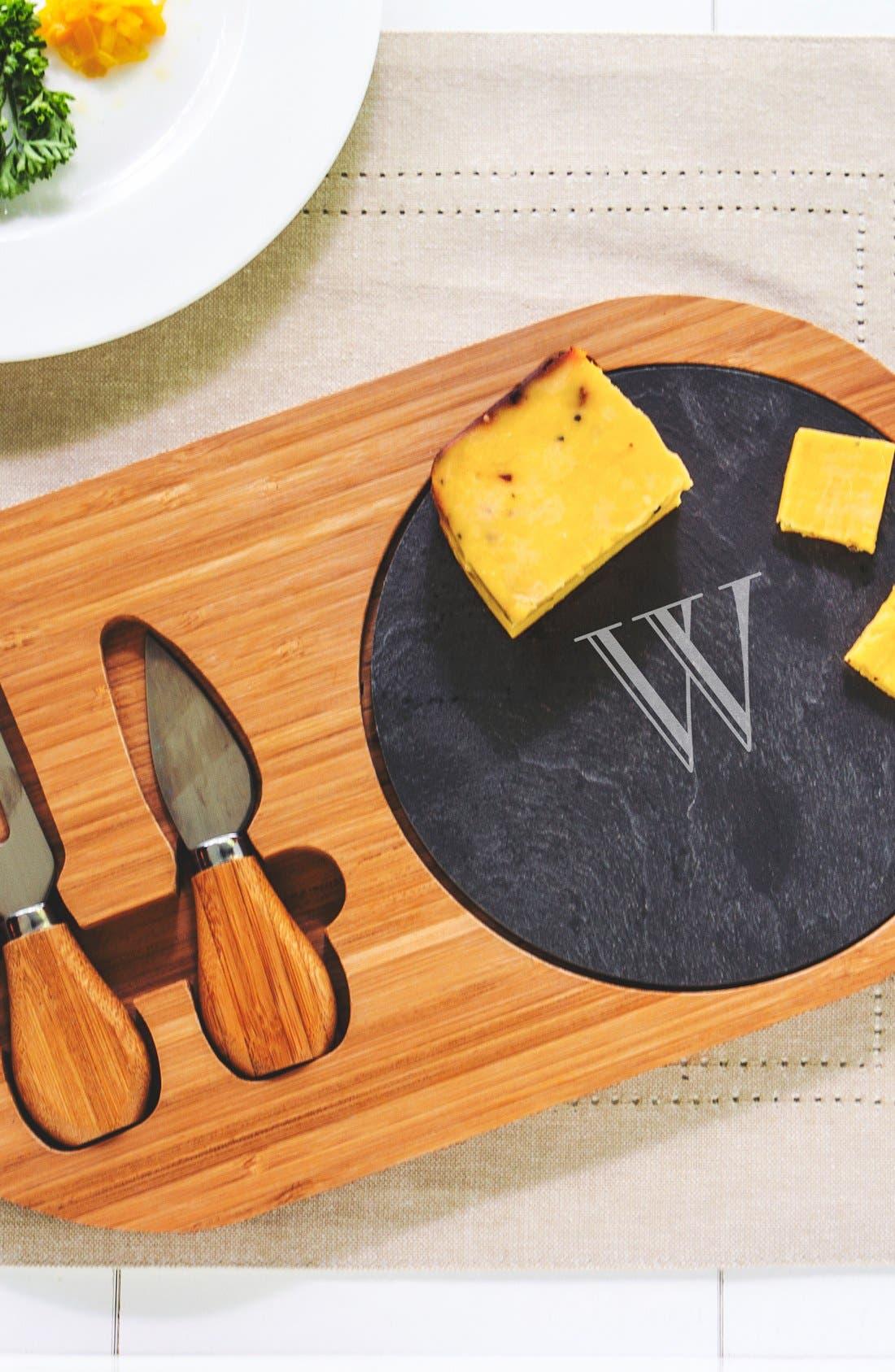 Monogram Cheese Board & Utensils,                             Main thumbnail 1, color,                             W