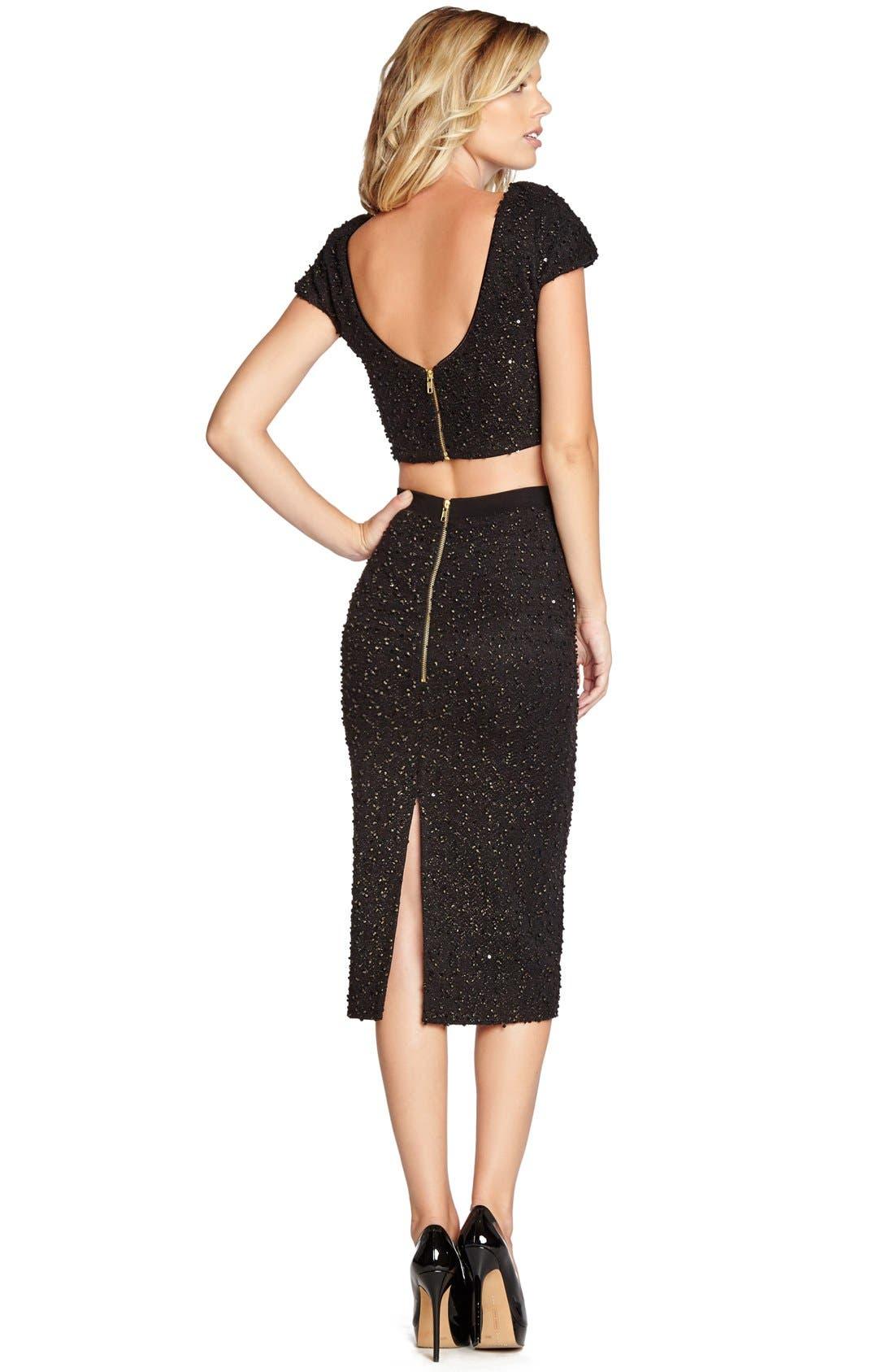 Alternate Image 2  - Dress the Population 'Natalie' Sequin Knit Midi Pencil Skirt