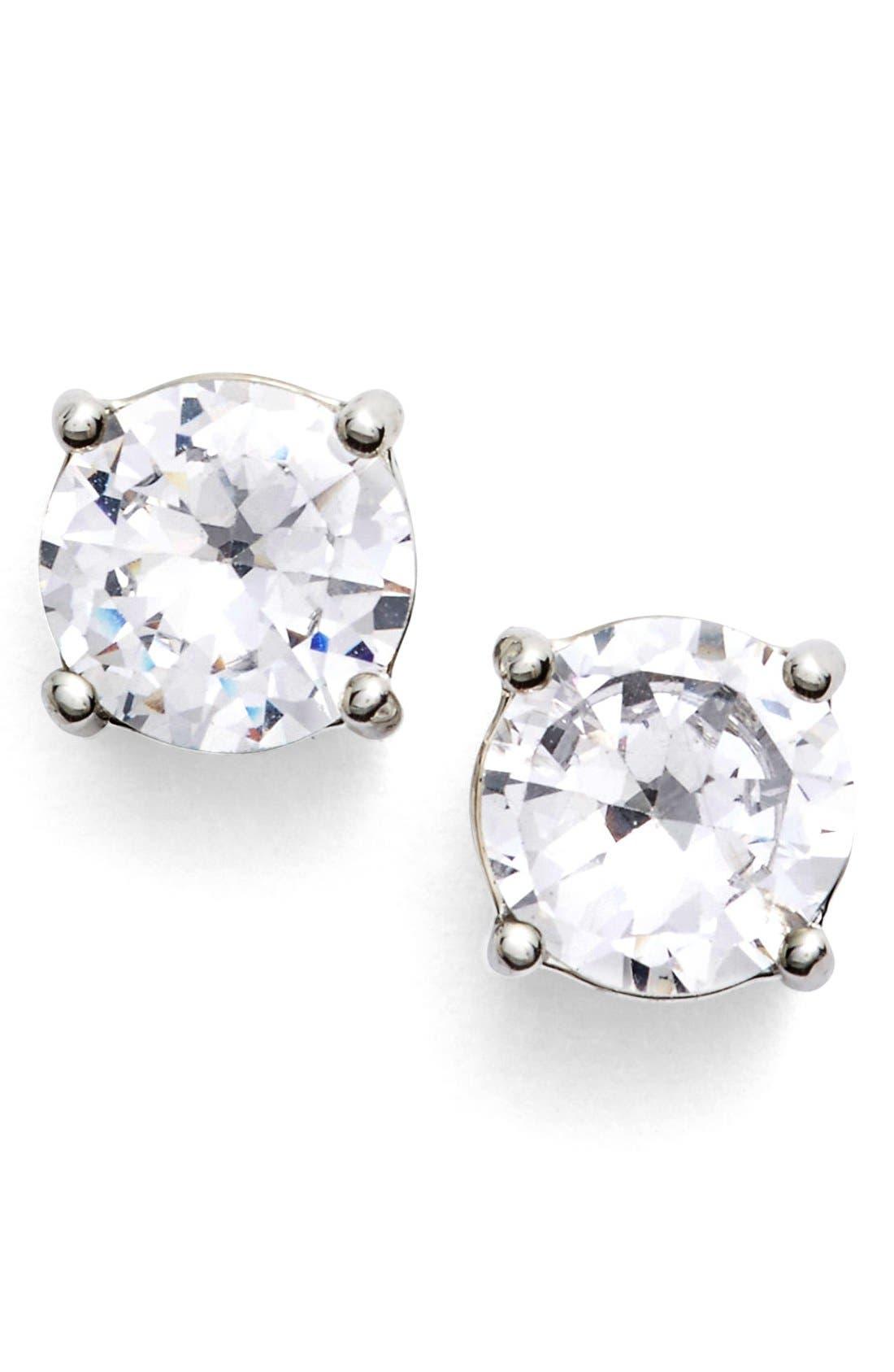 Crystal Stud Earrings,                         Main,                         color, Silver