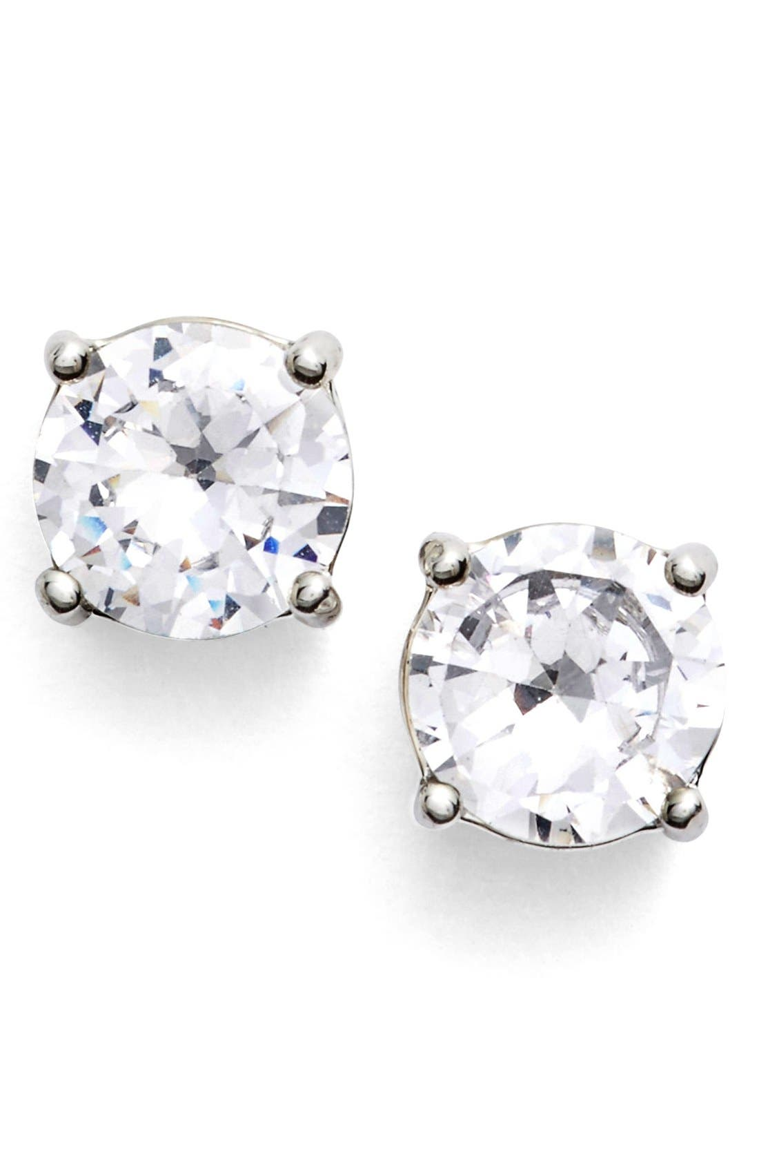 Crystal Stud Earrings,                         Main,                         color, Silver