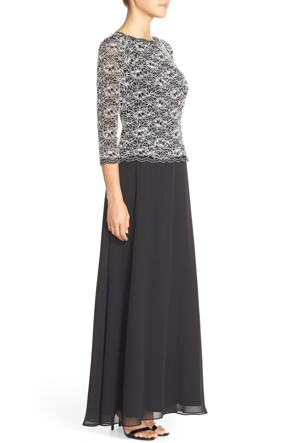 Lace & Chiffon Mock Two-Piece Gown,                             Alternate thumbnail 3, color,                             Black/ White