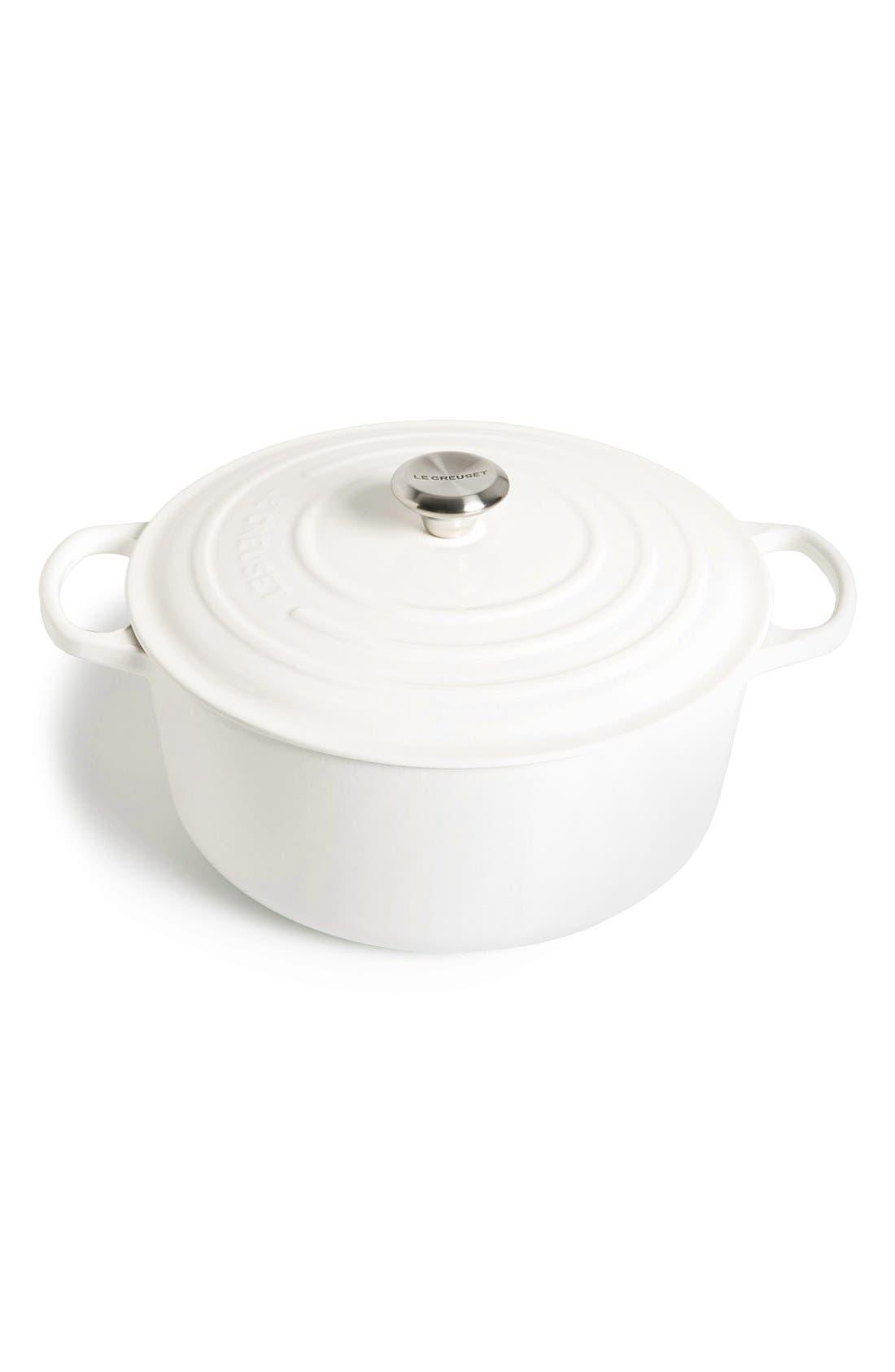 Signature 9 Quart Round Enamel Cast Iron French/Dutch Oven,                         Main,                         color, White
