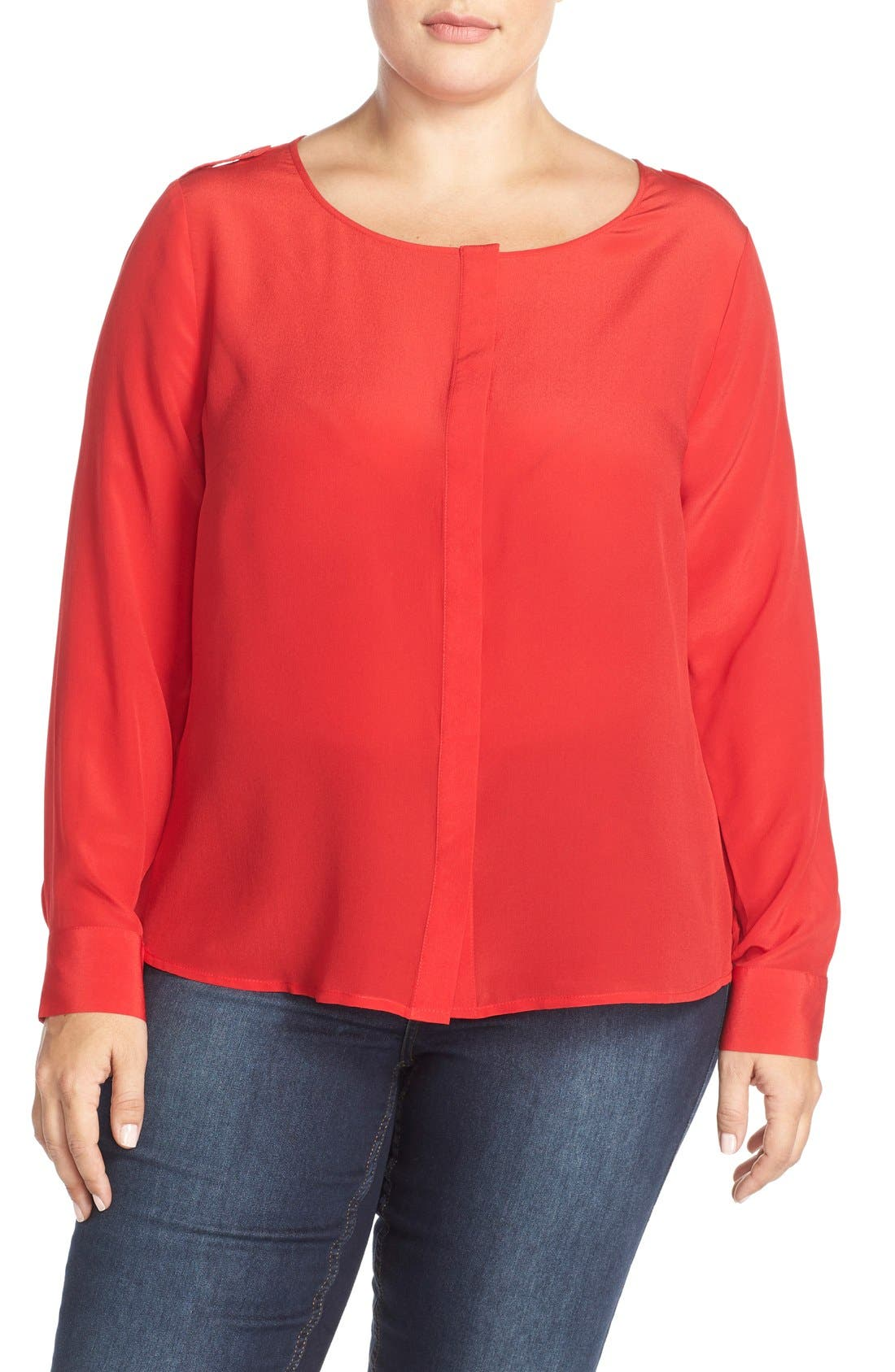 'Krista' Mirror Print Silk Top,                             Main thumbnail 1, color,                             Tango Red