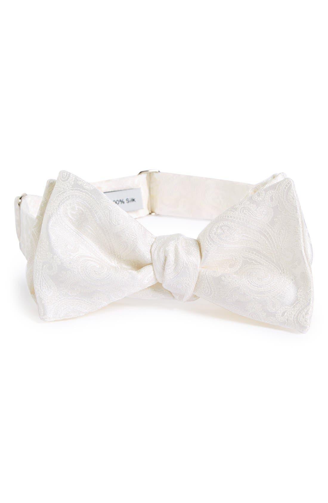 Paisley Silk Bow Tie,                         Main,                         color, White